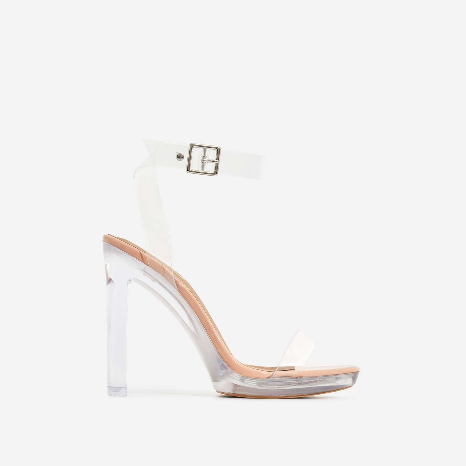 Icy Perspex Platform Barely There Thin Block Heel In Nude Patent