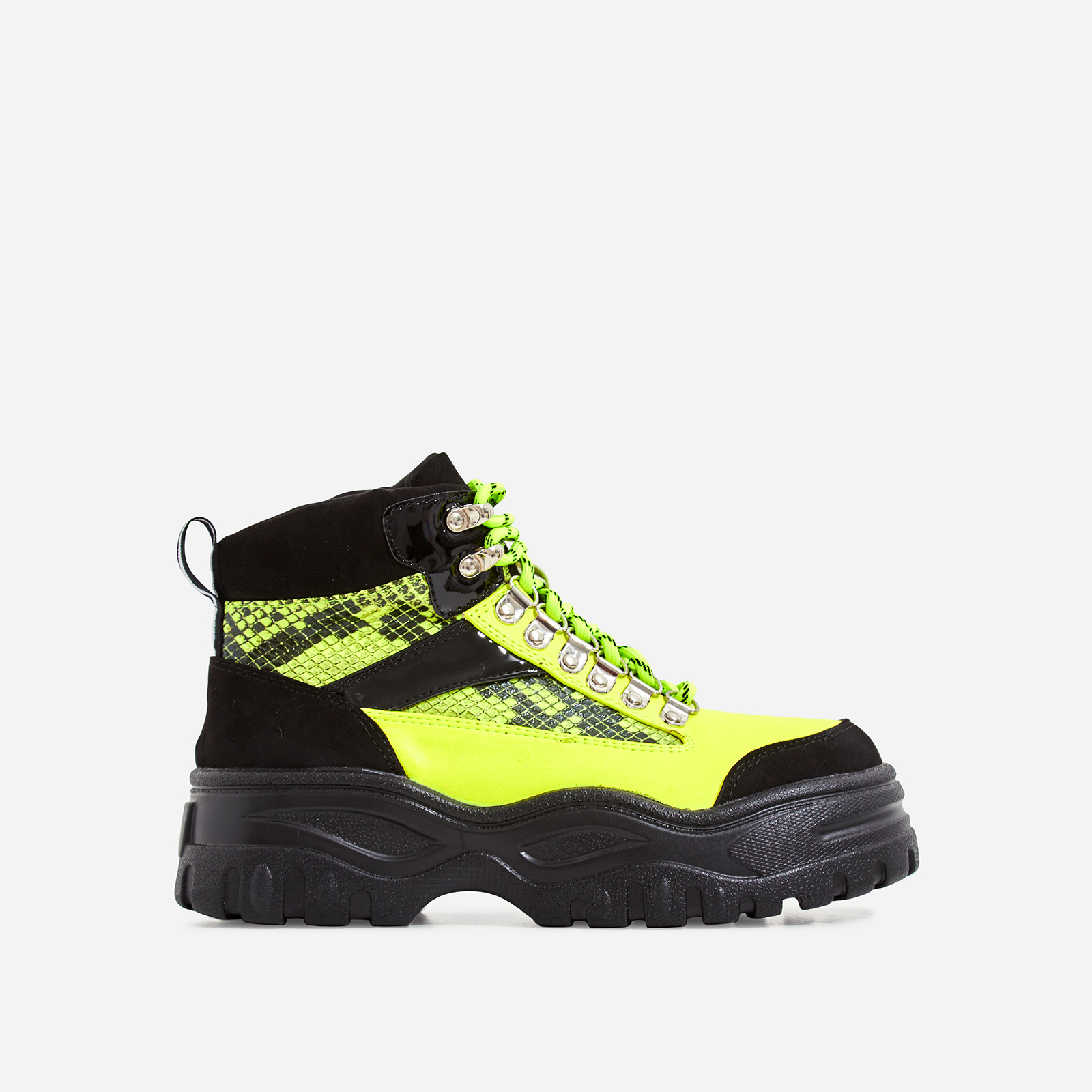 Hammer Lace Up Chunky Sole Ankle Hiker Boot In Neon Green Snake Print Faux Leather
