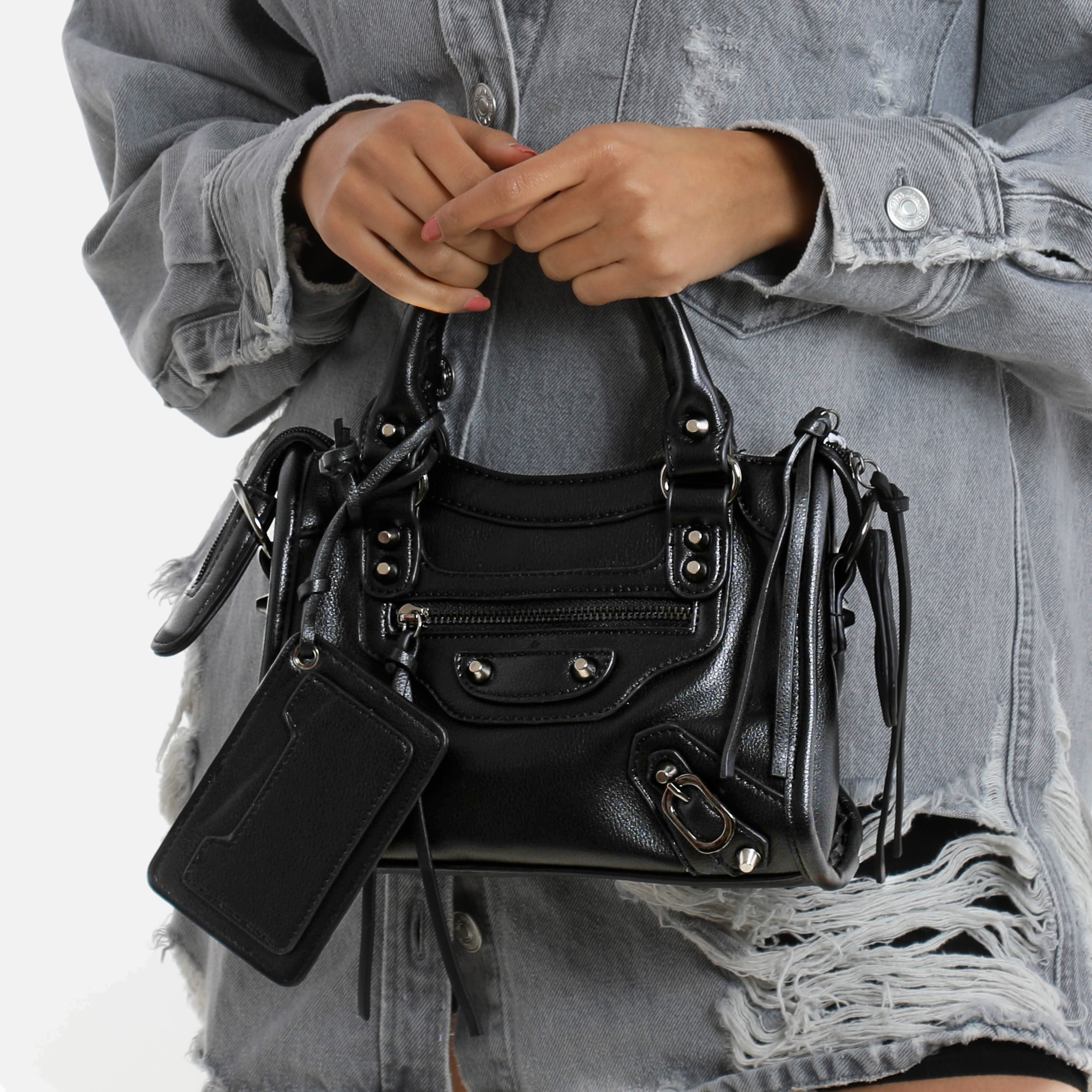 Buckle Detail Mini City Bag In Black Faux Leather