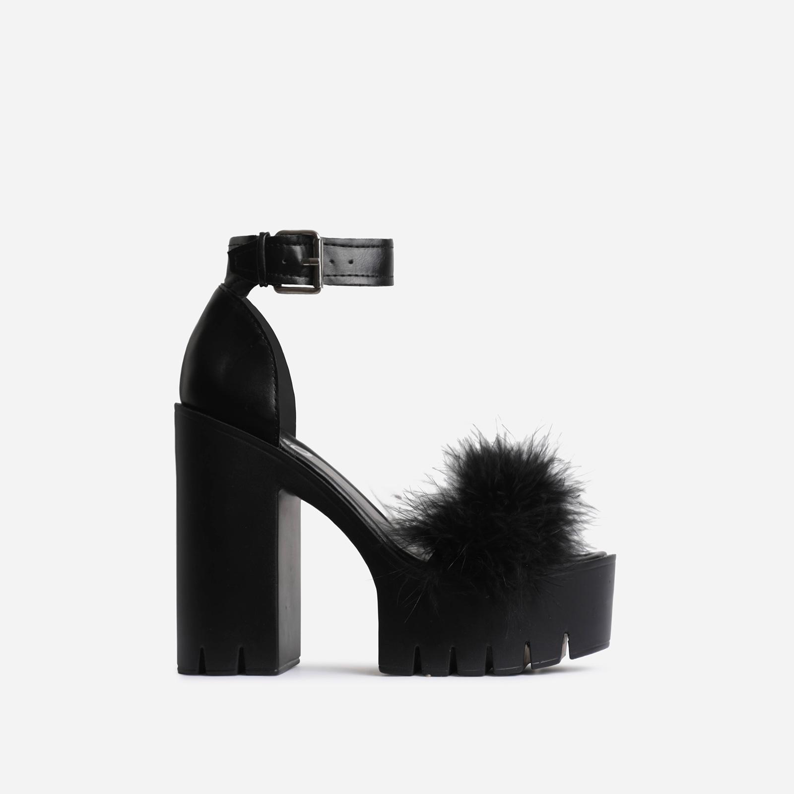Pepper Platform Faux Fur Detail Block Heel In Black Faux Leather