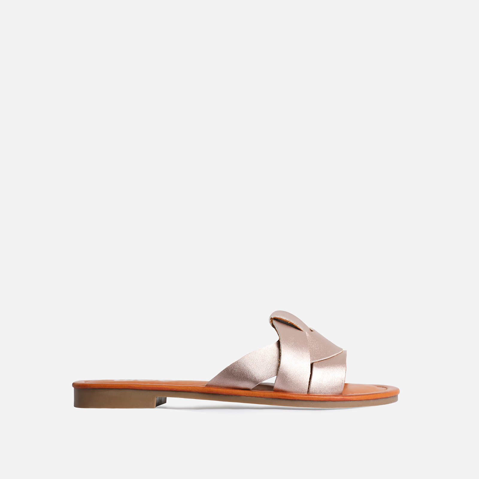 Billie Flat Sandal In Rose Gold Faux Leather