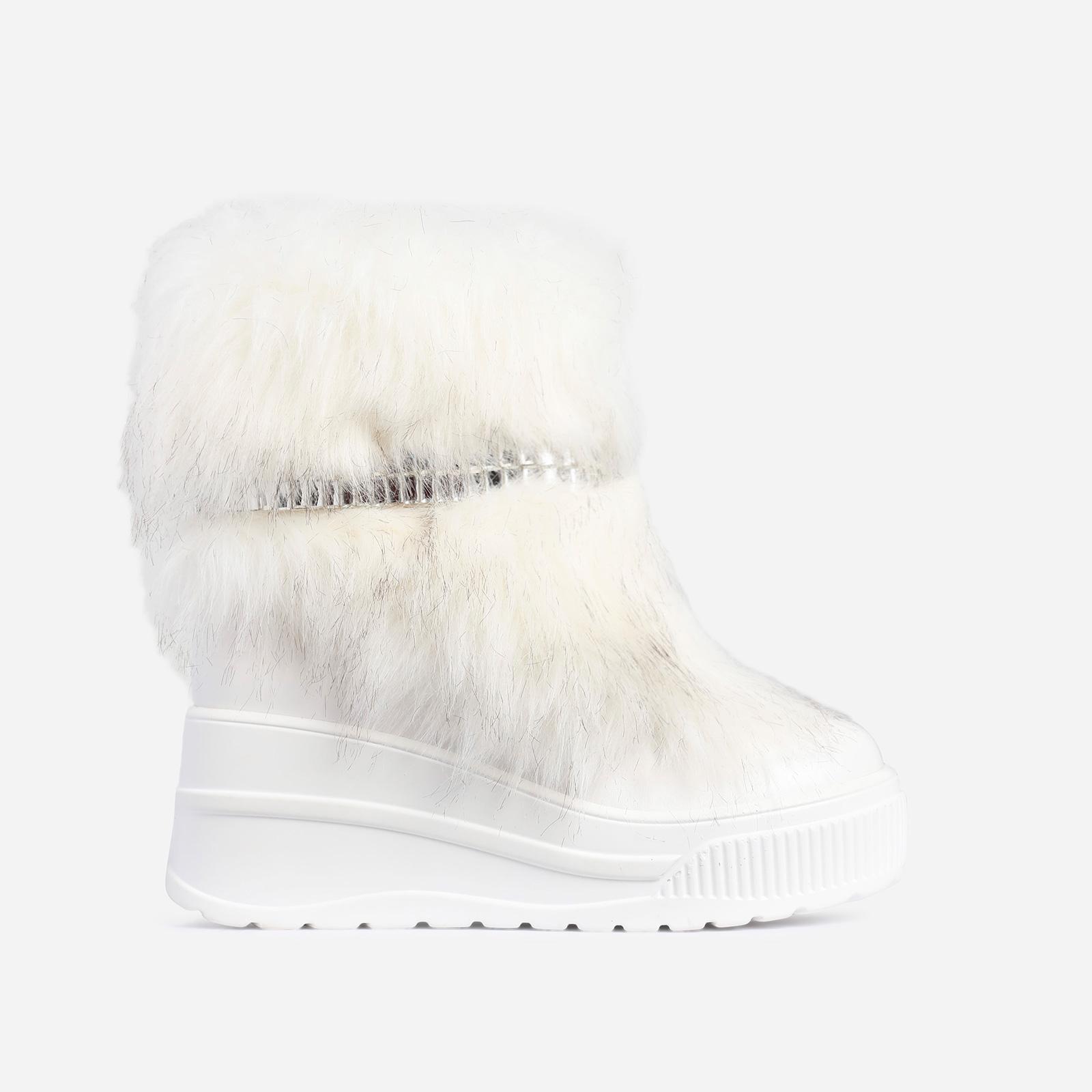 Money Diamante Detail Ankle Biker Boot In White Faux Fur