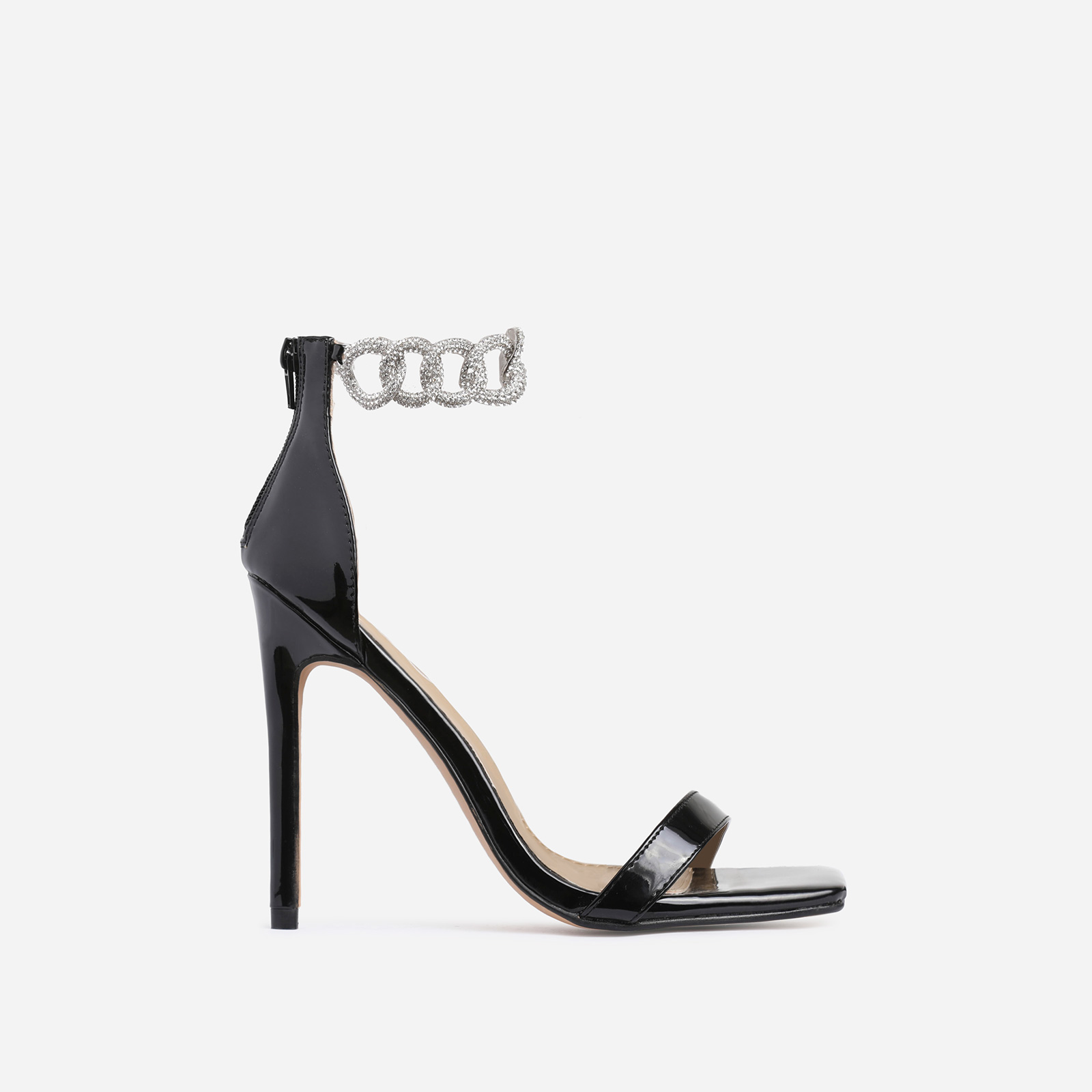 Barbie Diamante Chain Detail Square Toe Heel In Black Patent