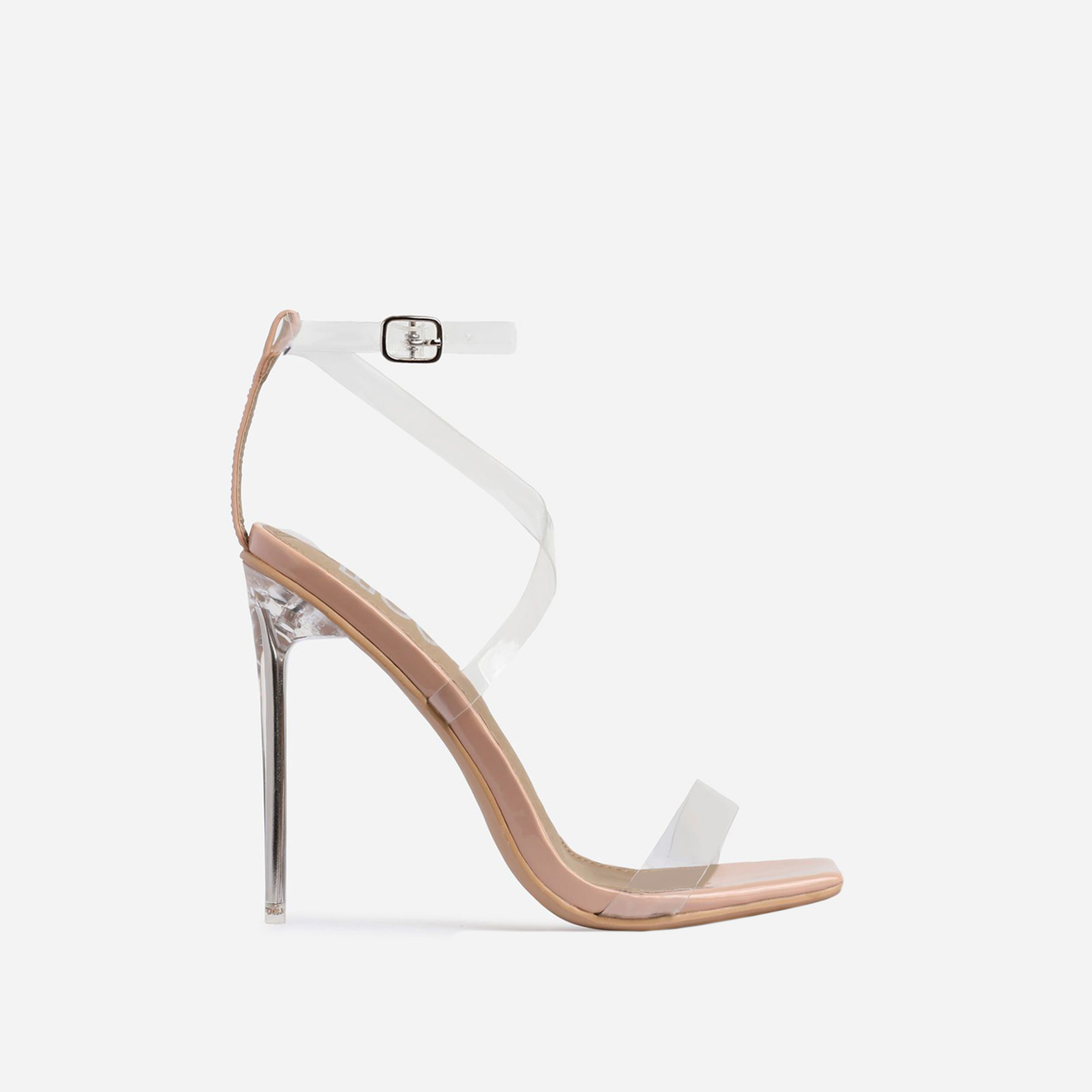 Lance Square Toe Barely There Clear Perspex Heel In Nude Patent