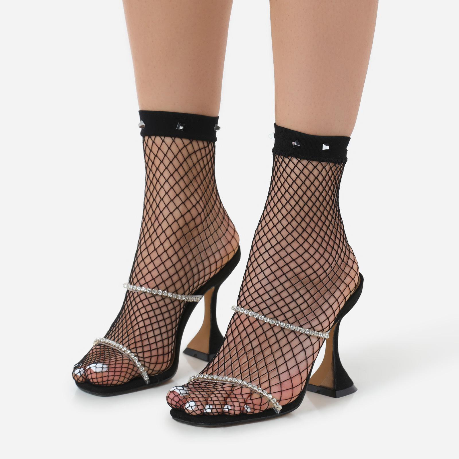 Square Studded Detail Socks In Black Fishnet