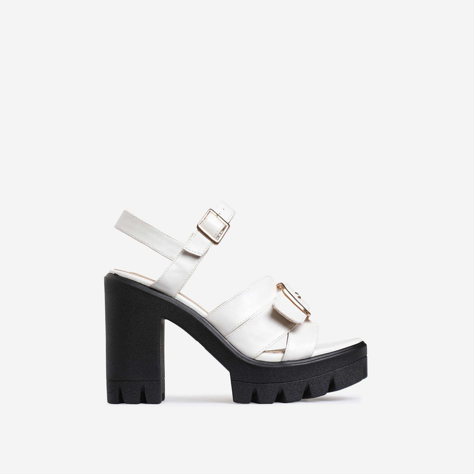 Neighbor Buckle Detail Chunky Sole Heel In White Faux Leather