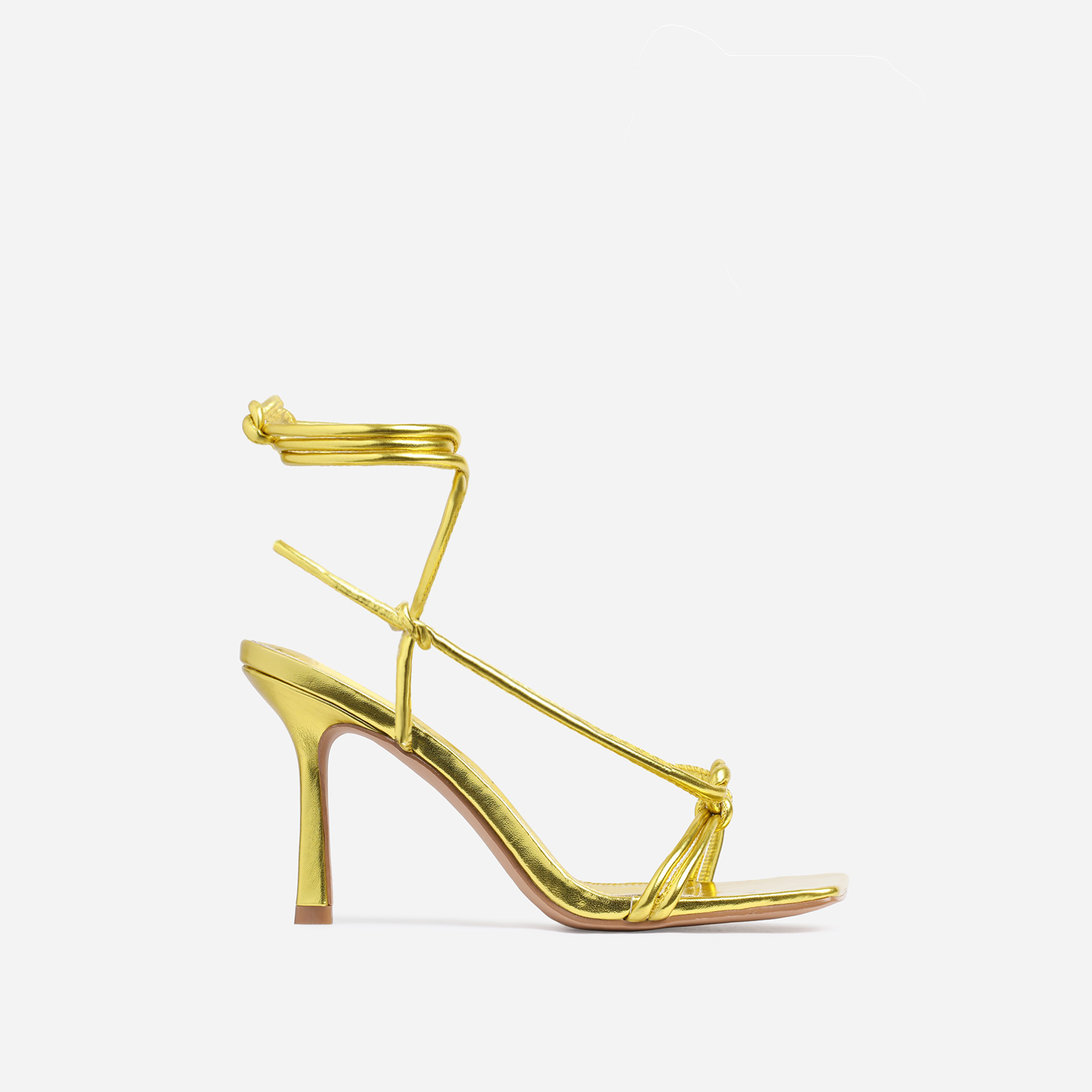 Priya Square Toe Lace Up Heel In Gold Faux Leather