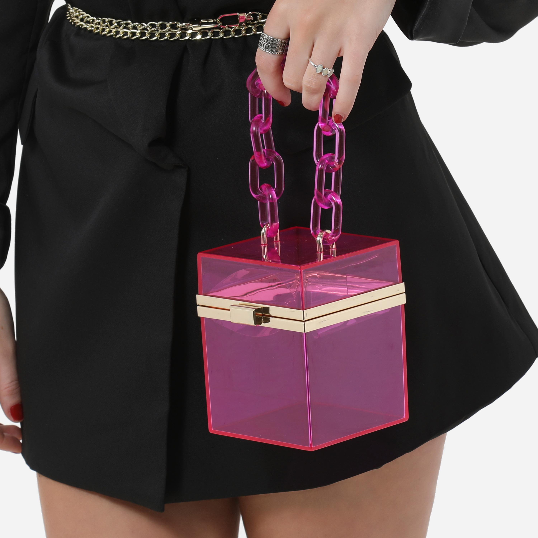 Mini Square Vanity Bag In Pink Perspex