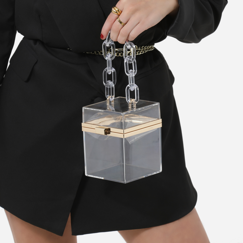 Mini Square Vanity Bag In Clear Perspex