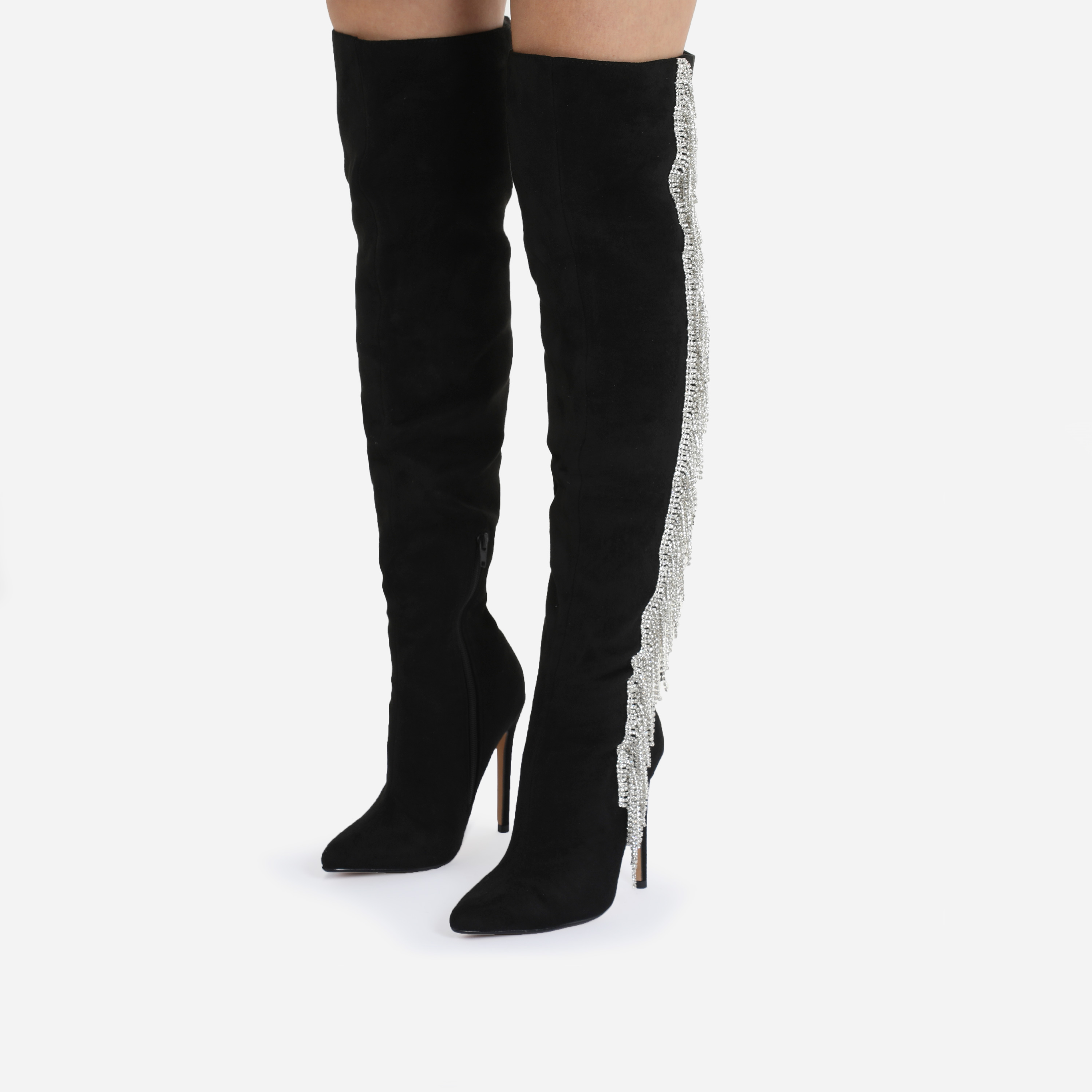 Movement Diamanate Tassel Over The Knee Thigh High Knee Boot In Black Faux Suede