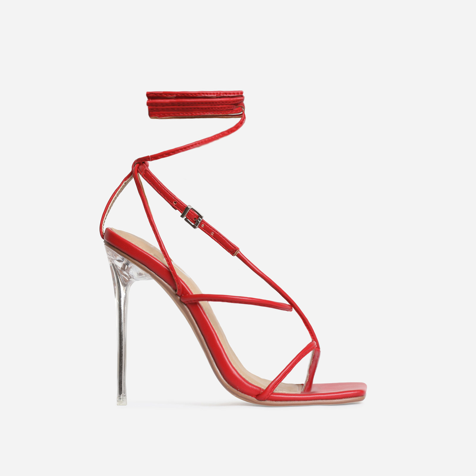 True Square Toe Lace Up Clear Perspex Heel In Red Faux Leather