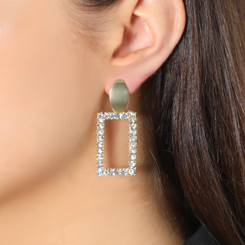 Diamante Square Drop Earrings In Gold