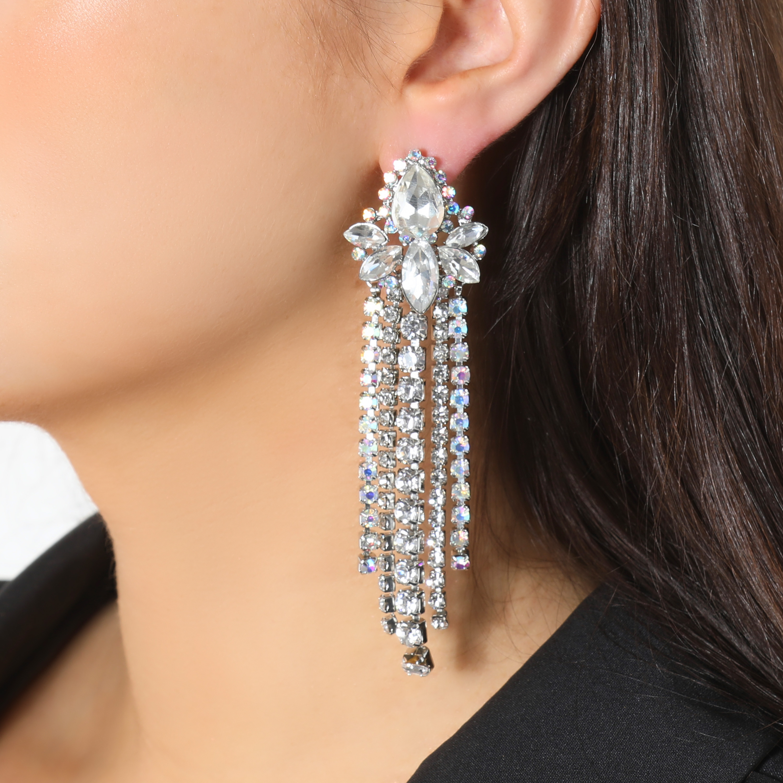 Diamante Stud Drop Earrings In Silver
