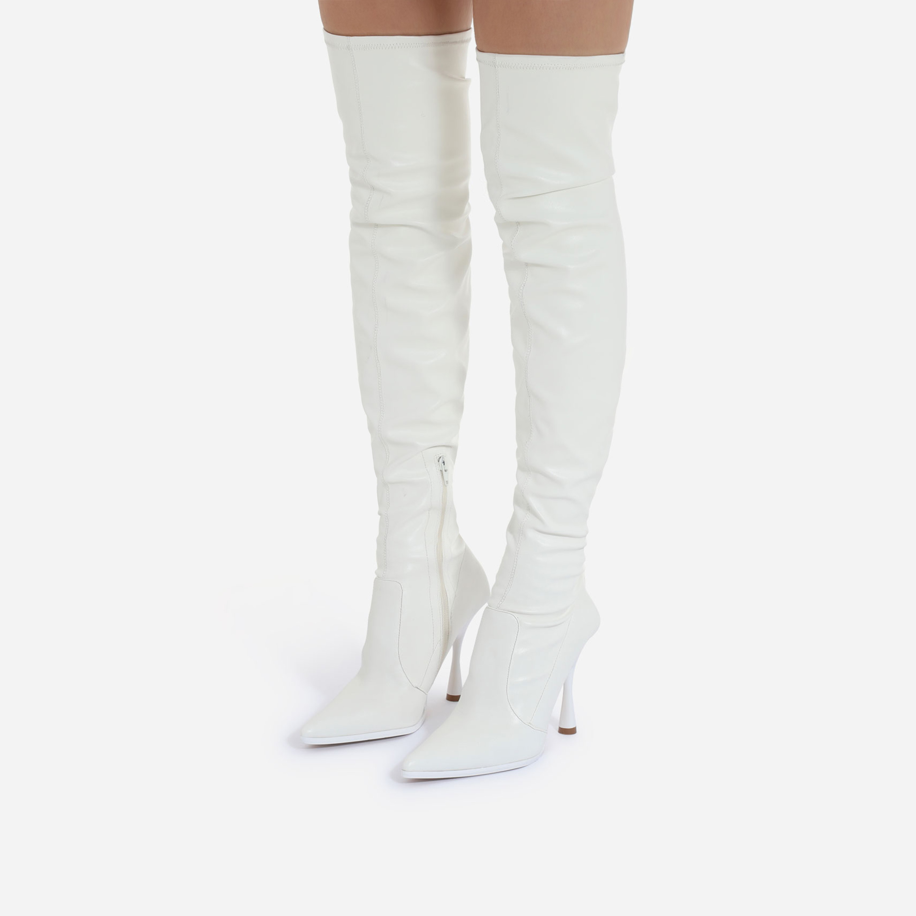 Melba Curved Heel Over The Knee Thigh High Long Sock Boot In White Faux Leather