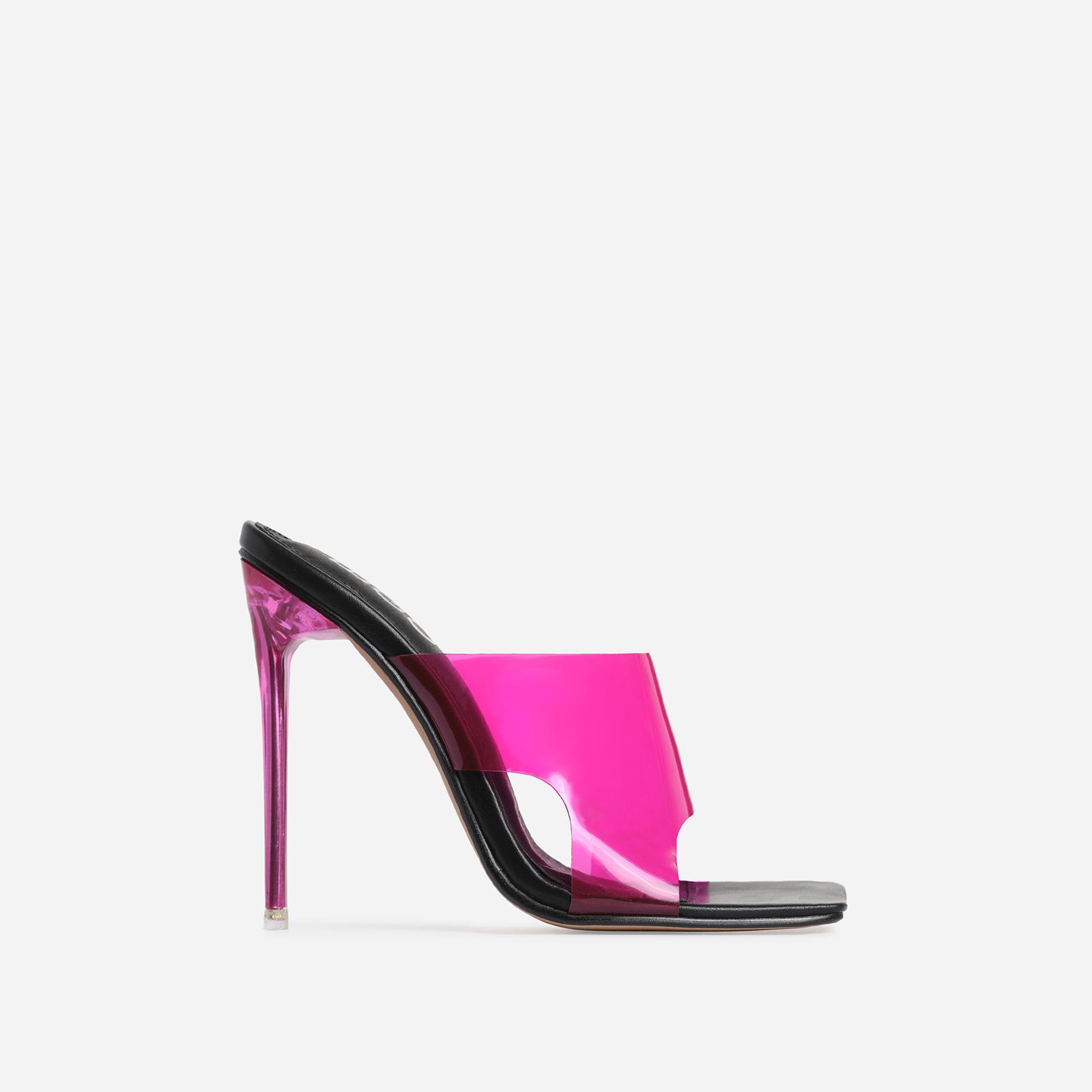 River Pink Perspex Square Peep Toe Heel Mule In Black Faux Leather