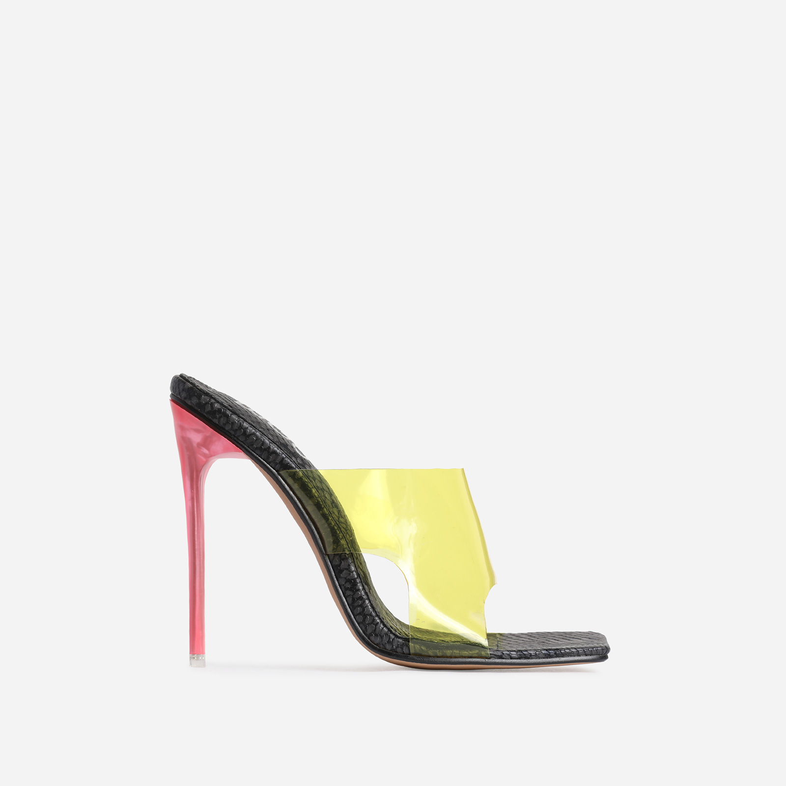 River Yellow Perspex Square Peep Toe Heel Mule In Black Snake Print Faux Leather