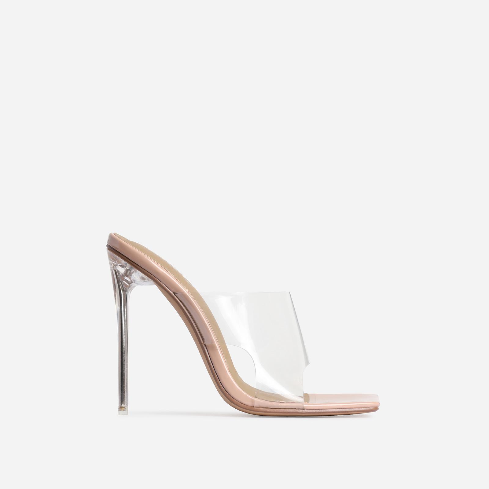 River Perspex Square Peep Toe Heel Mule In Nude Patent