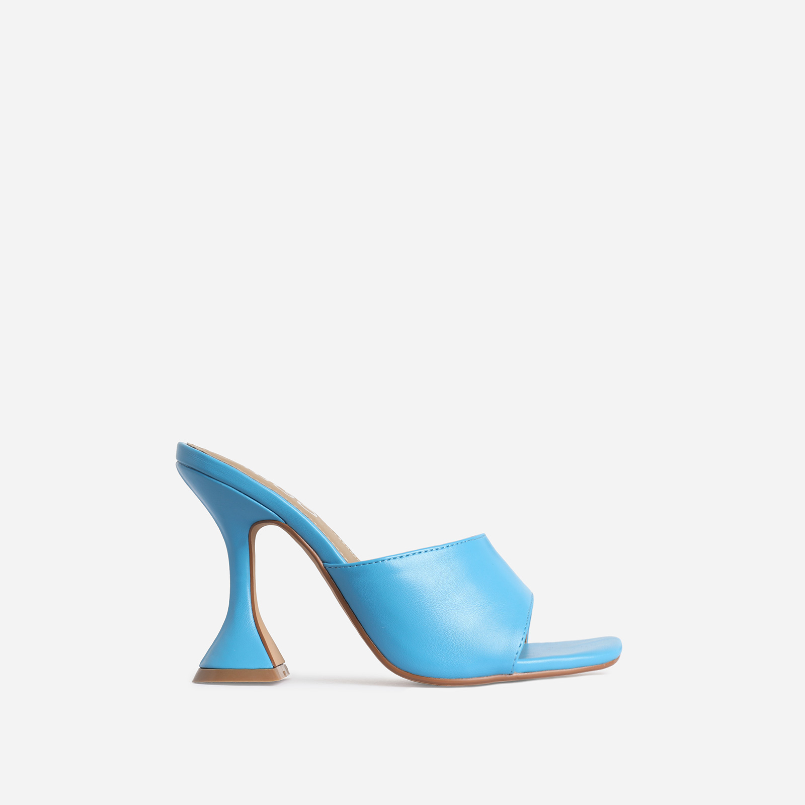 Jordi Peep Square Toe Heel Mule In Blue Faux Leather