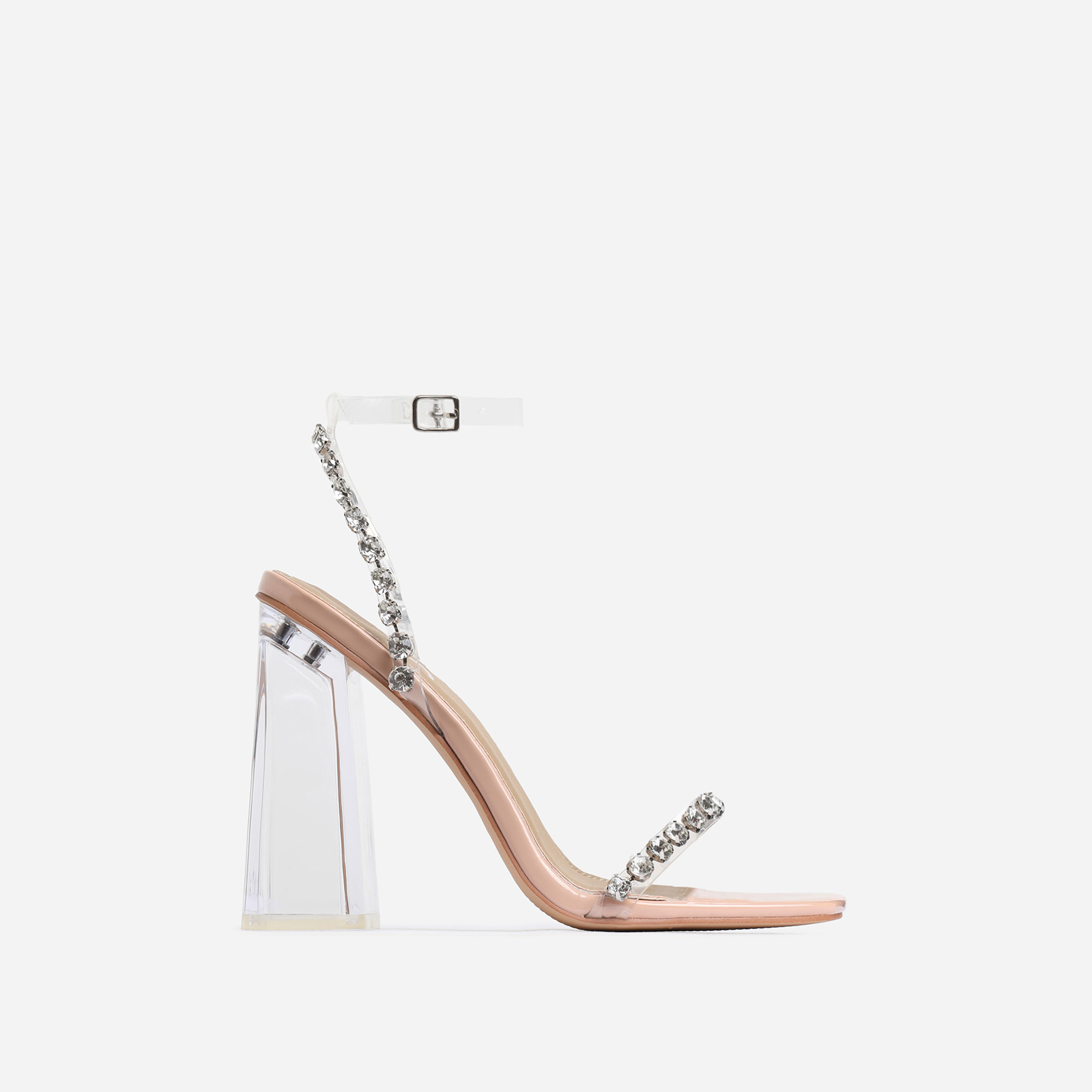 Rally Diamante Detail Flared Perspex Block Heel In Nude Patent