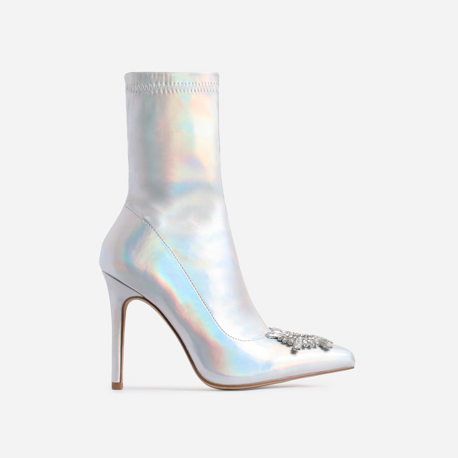 Starlight Diamante Detail Ankle Boot In Silver Holographic Faux Leather