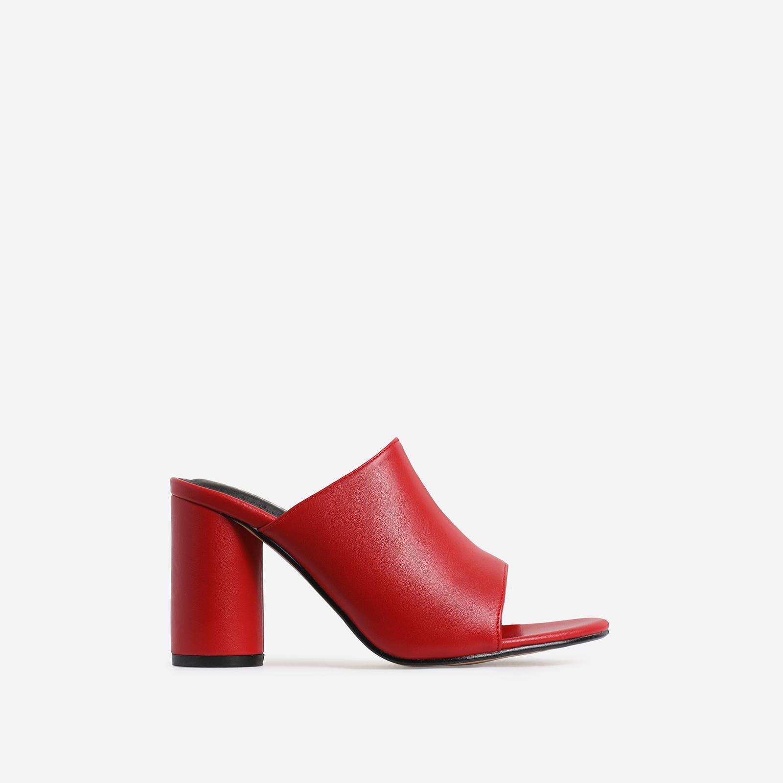 Virgo Peep Toe Block Heel Mule In Red Faux Leather
