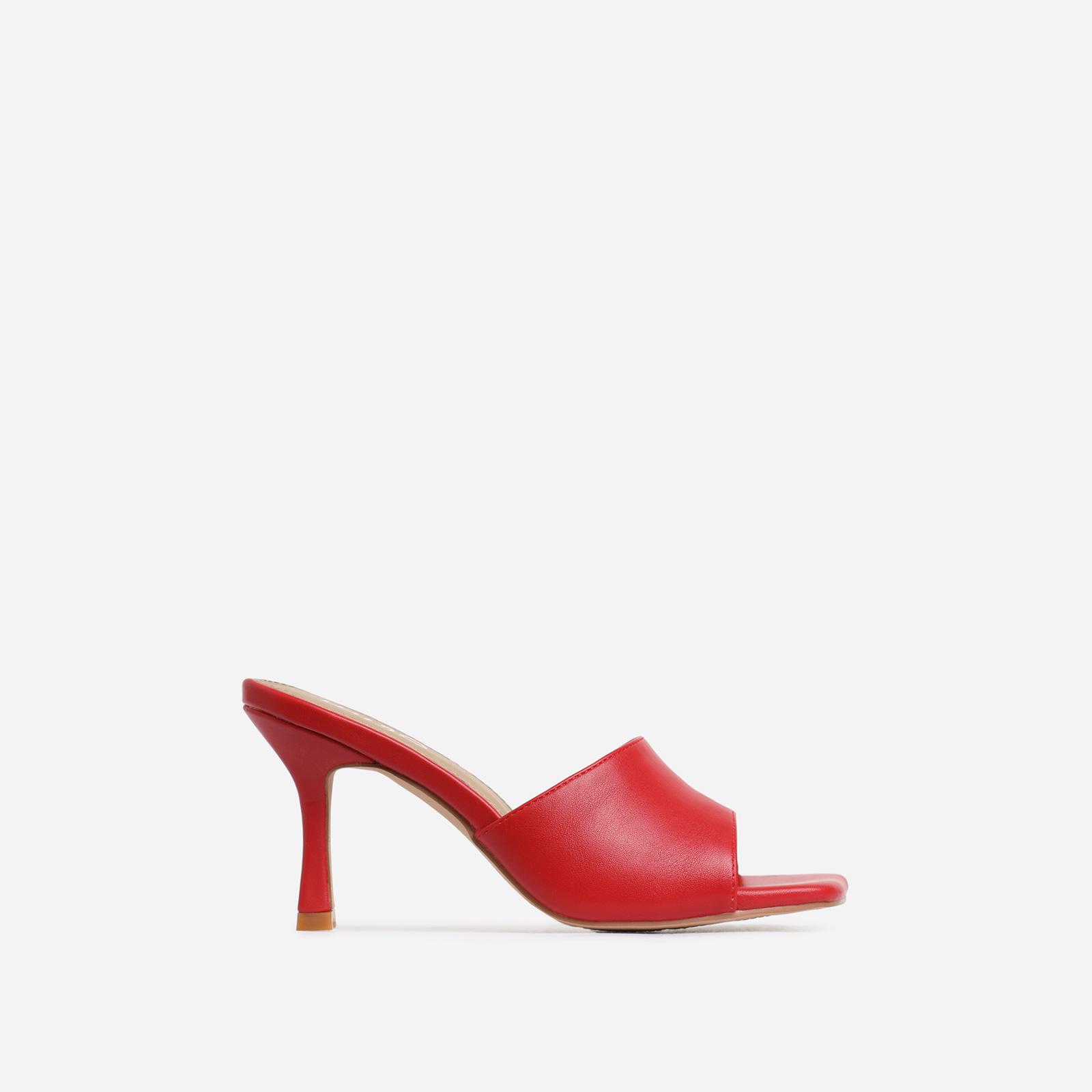 Hilton Square Peep Toe Kitten Heel Mule In Red Faux Leather