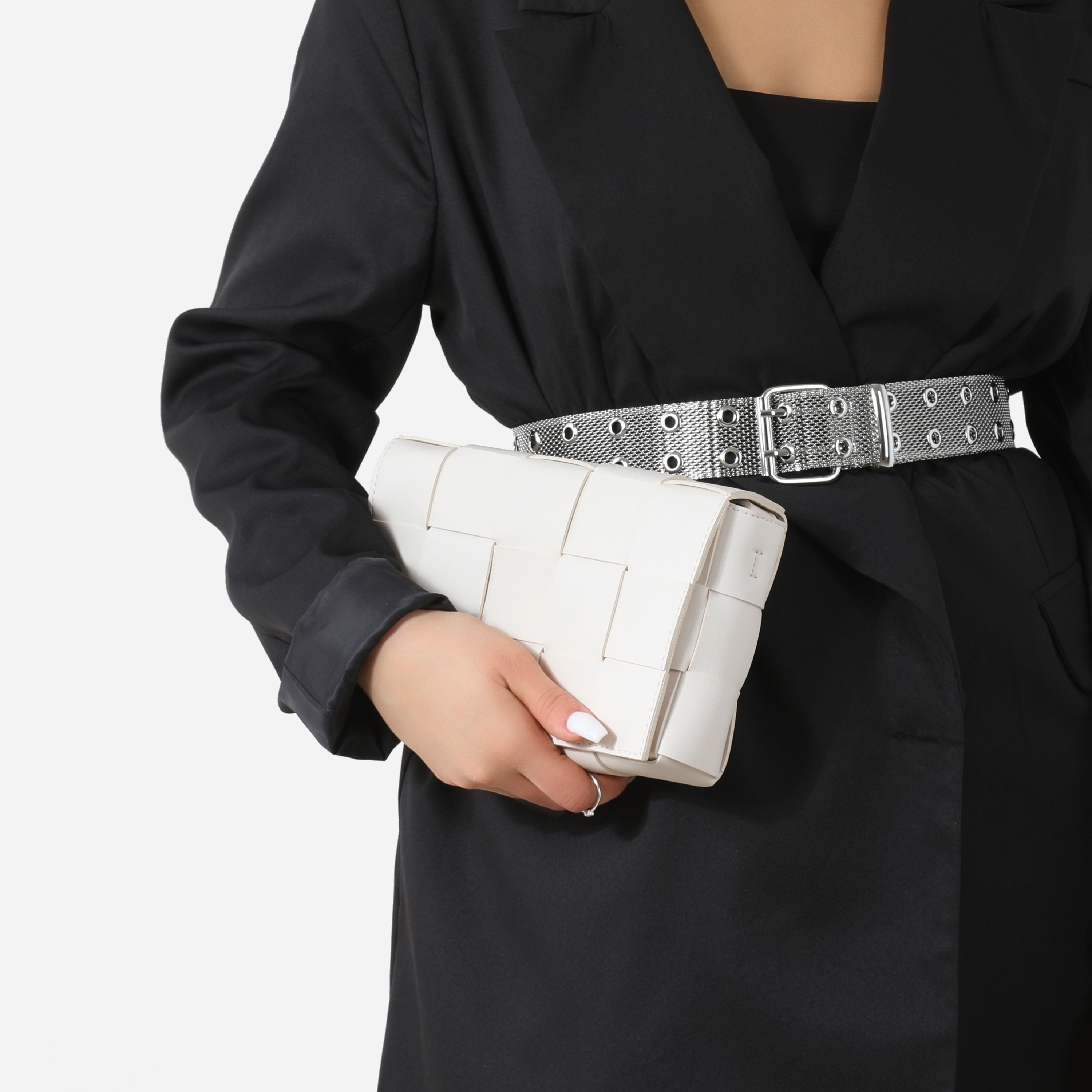 Woven Detail Square Clutch Bag In White Faux Leather