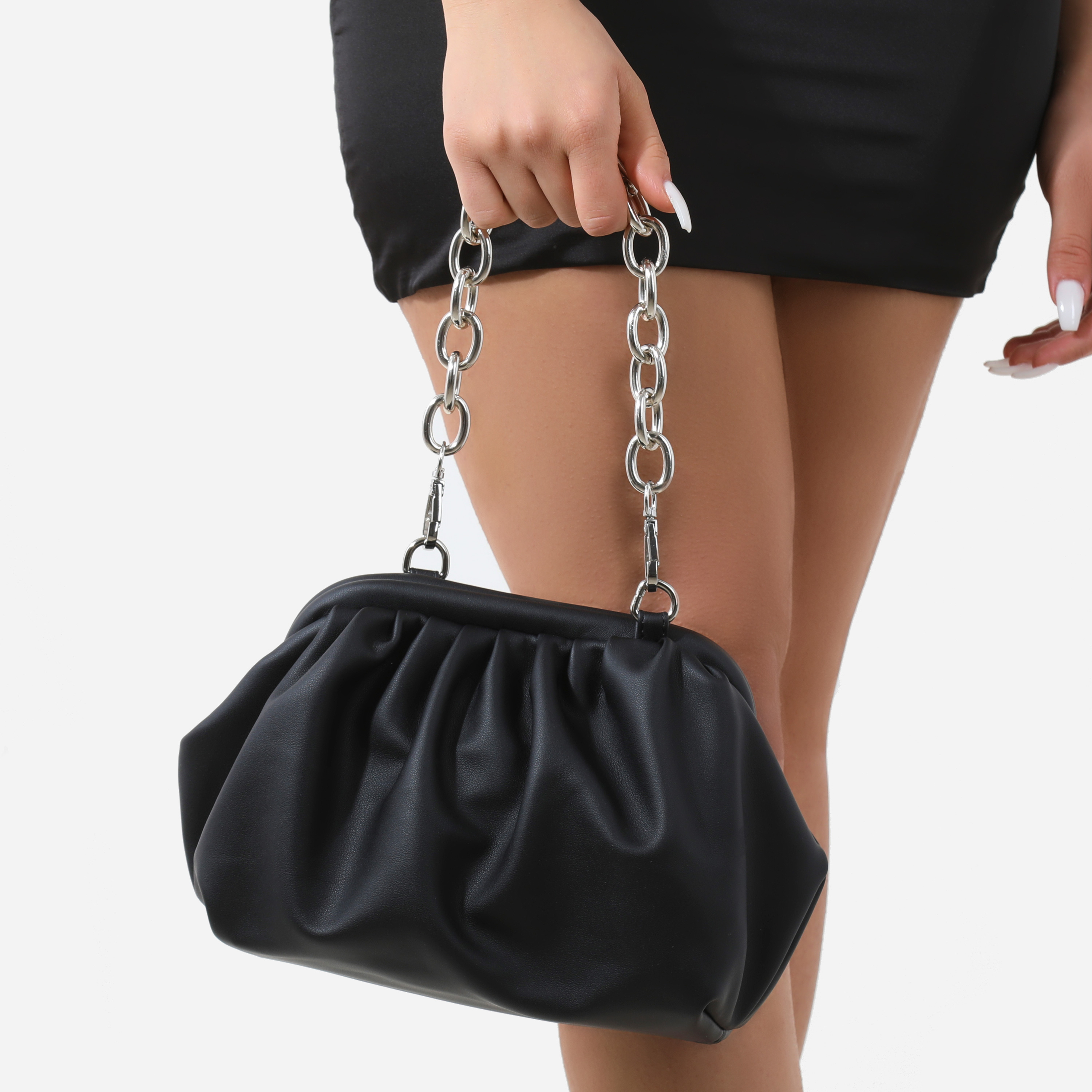 Chain Detail Gathered Shoulder Bag In Black Faux Leather
