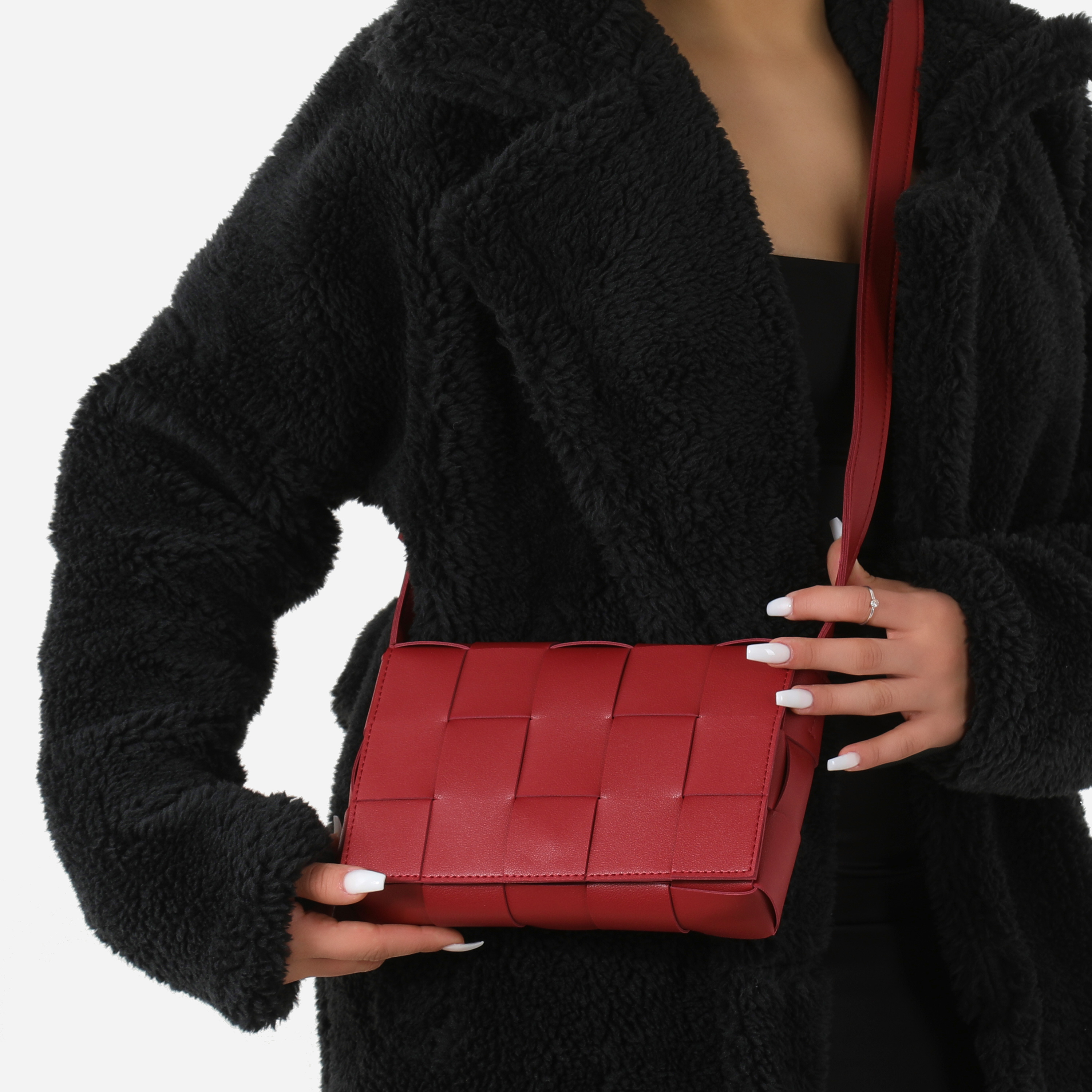 Woven Detail Square Clutch Bag In Red Faux Leather