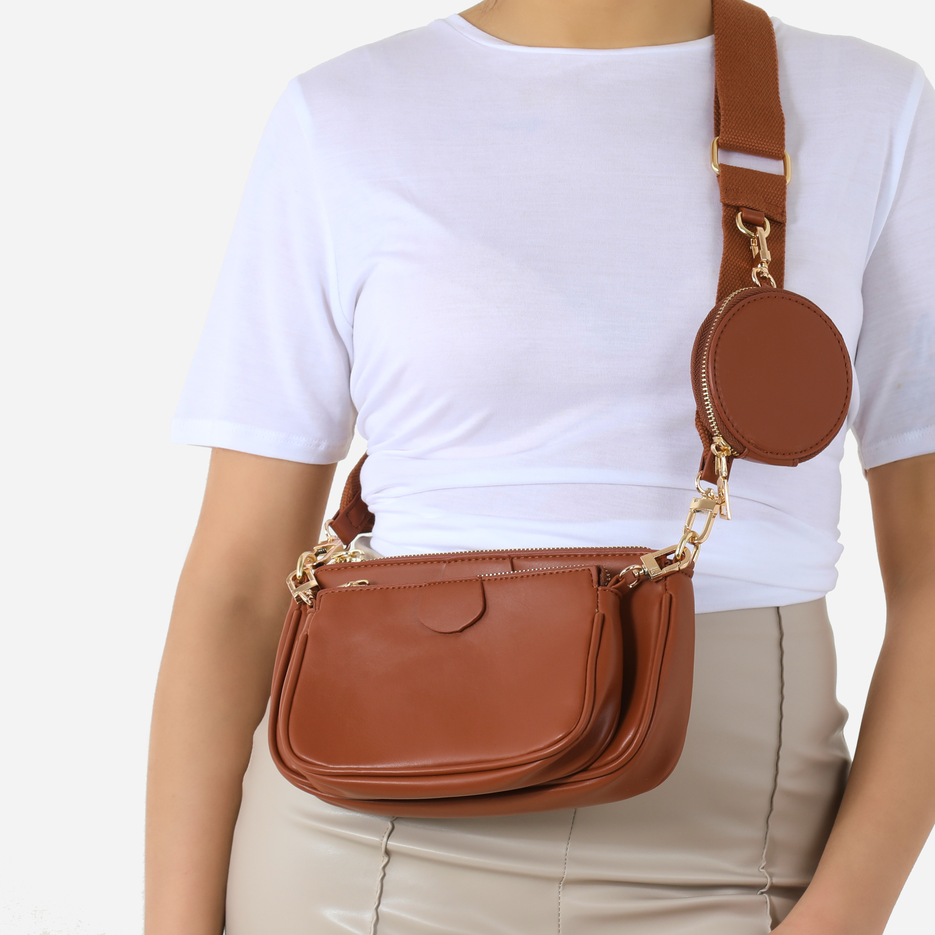 Chain & Purse Detail Cross Body Bag In Tan Faux Leather