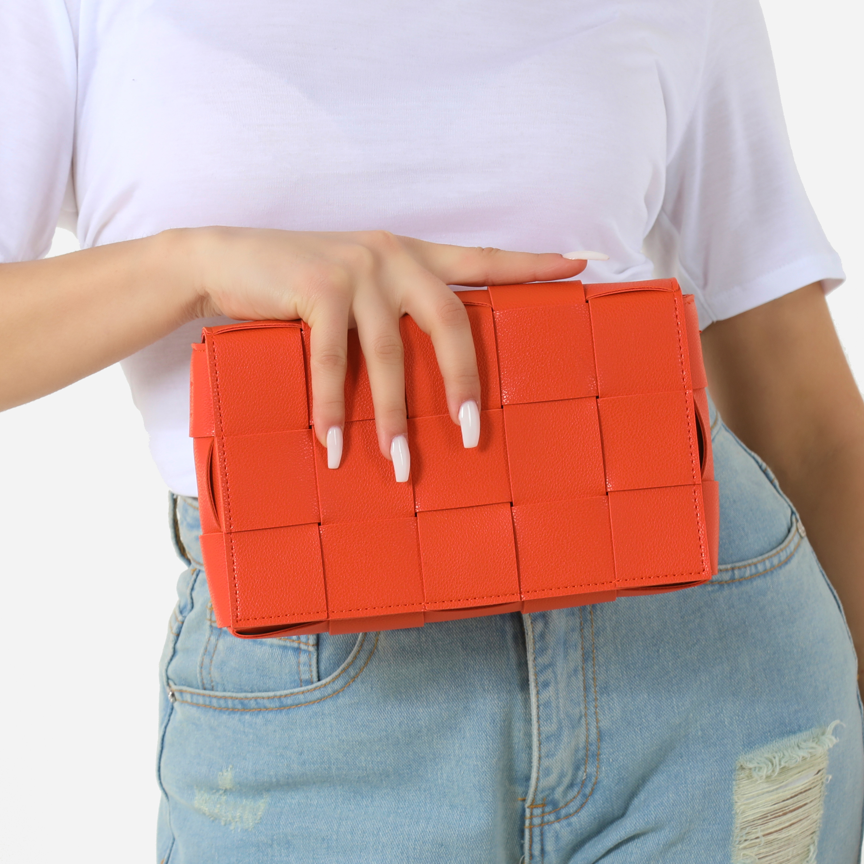 Woven Detail Square Clutch Bag In Orange Faux Leather