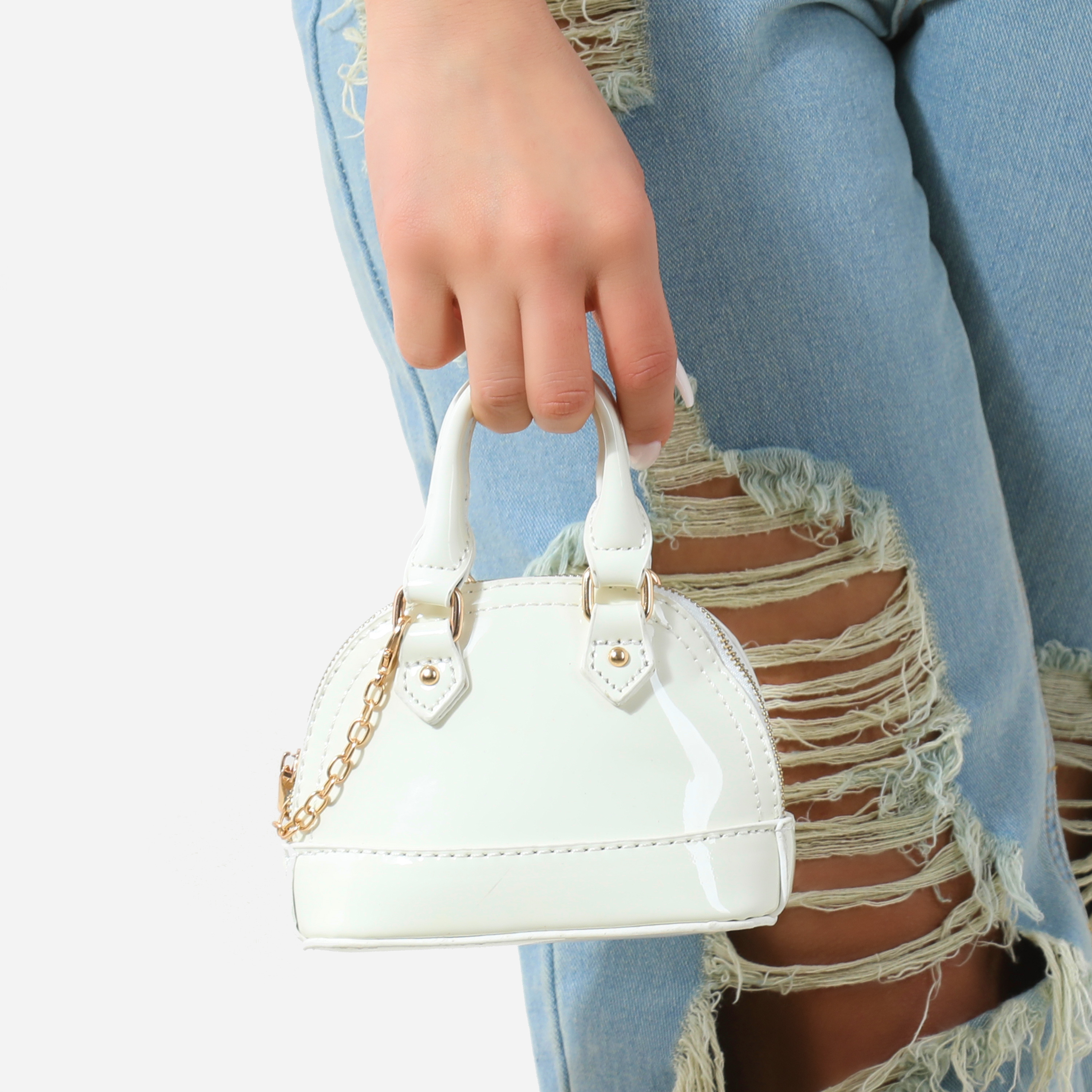 Micro Chain Detail Grab Bag In White Patent