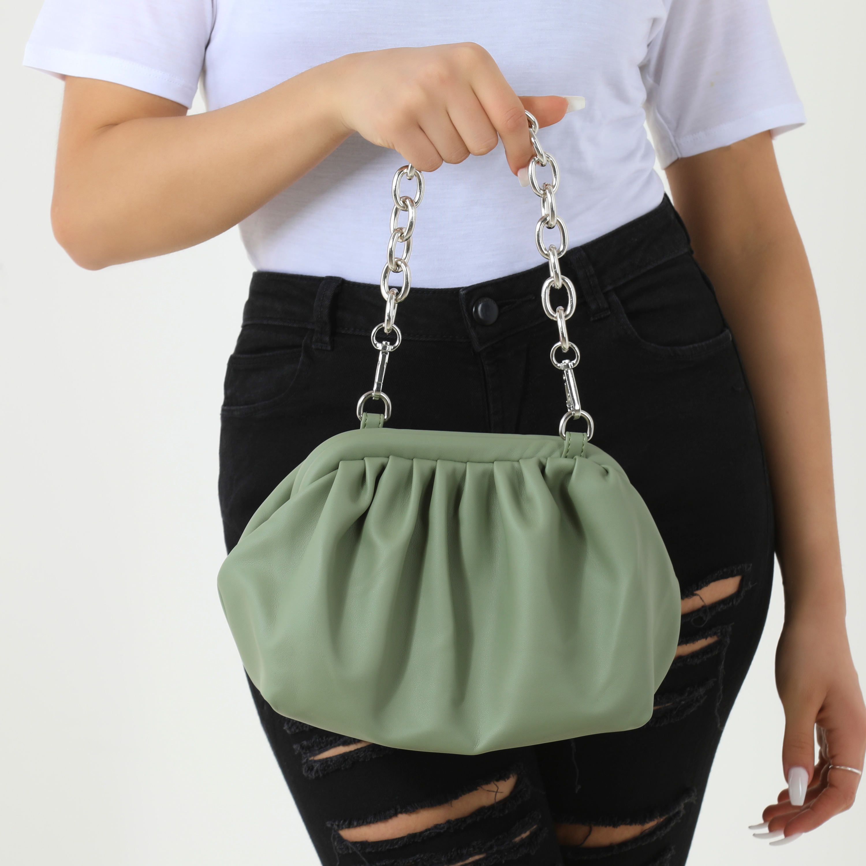 Chain Detail Gathered Shoulder Bag In Khaki Faux Leather