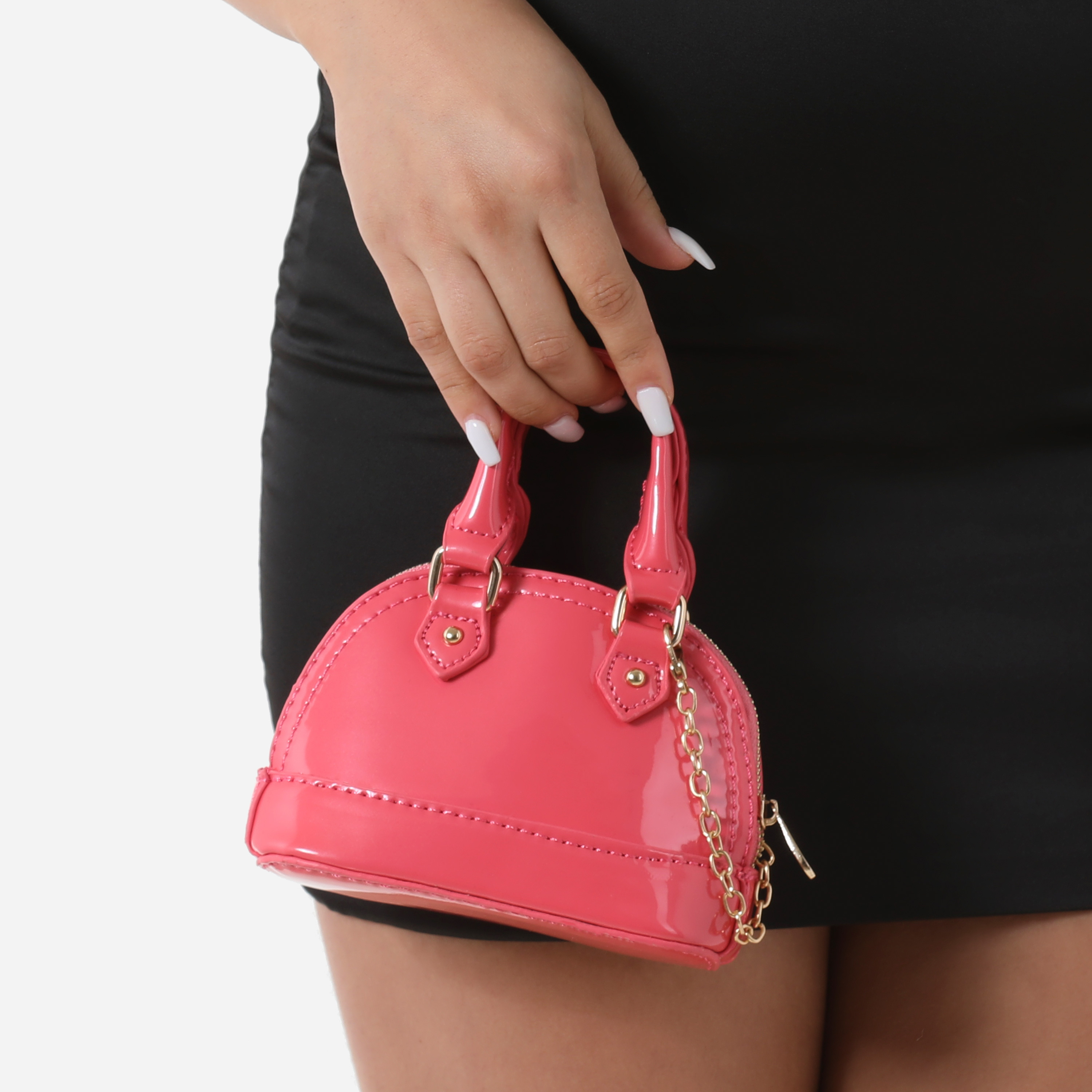 Micro Chain Detail Grab Bag In Pink Patent