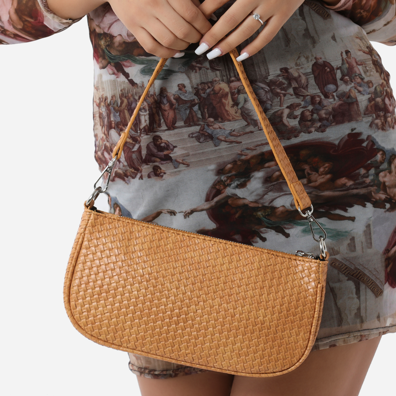 Woven Baguette Shoulder Bag In Tan Faux Leather