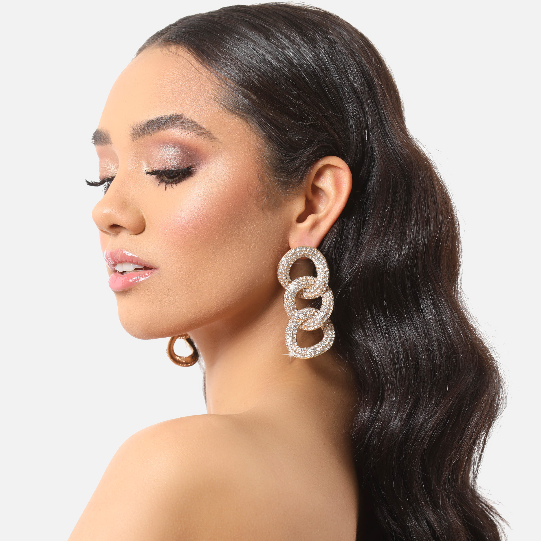 Diamante Oversized Chain Earrings In Gold