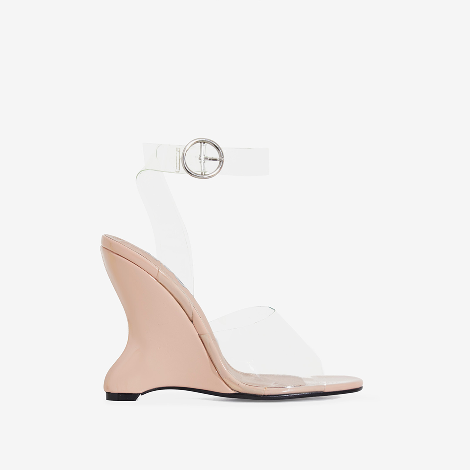 Eli Perspex Wedge Block Heel In Nude Patent
