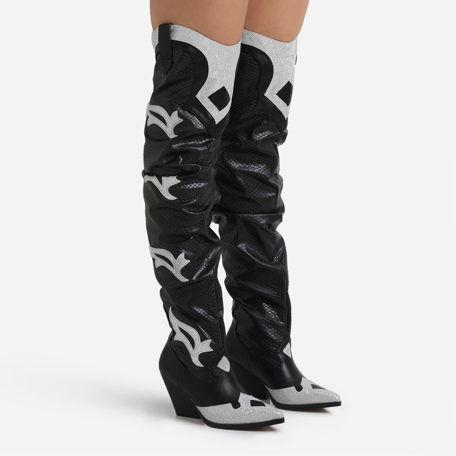 Molly Glitter Detail Embroidered Western Thigh High Long Boot In Black Snake Print Faux Leather