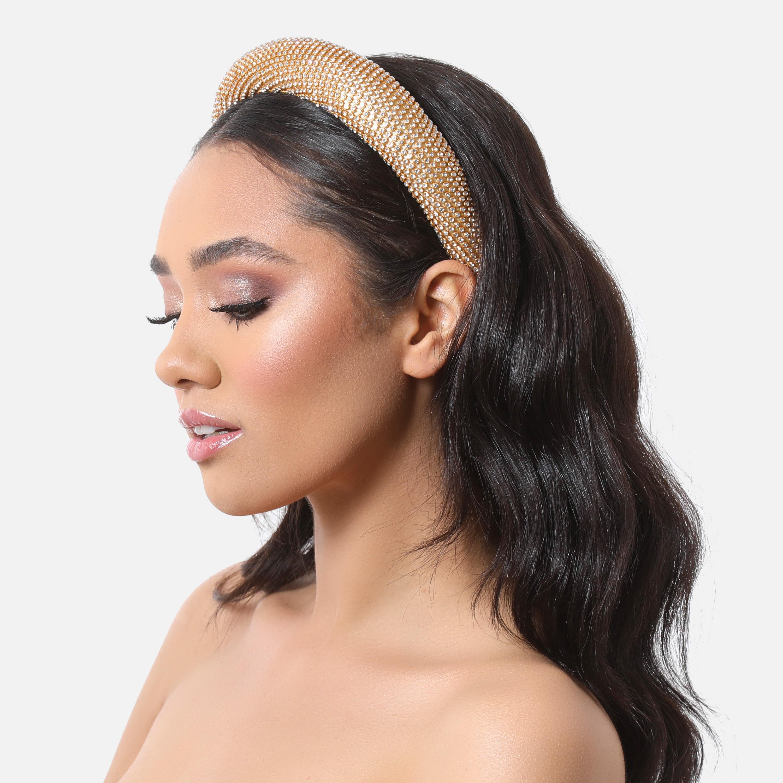 Diamante Padded Headband In Gold
