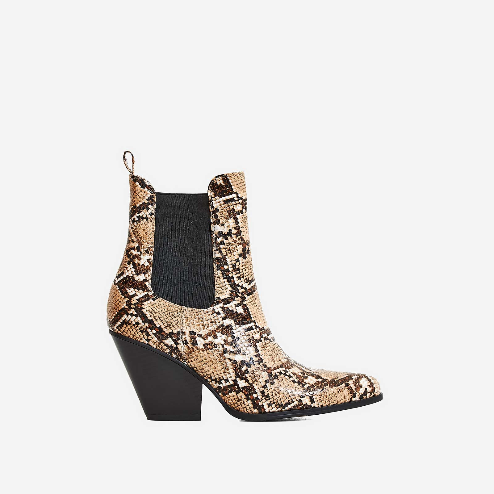 Camille Western Ankle Boot In Nude Snake Print Faux Leather