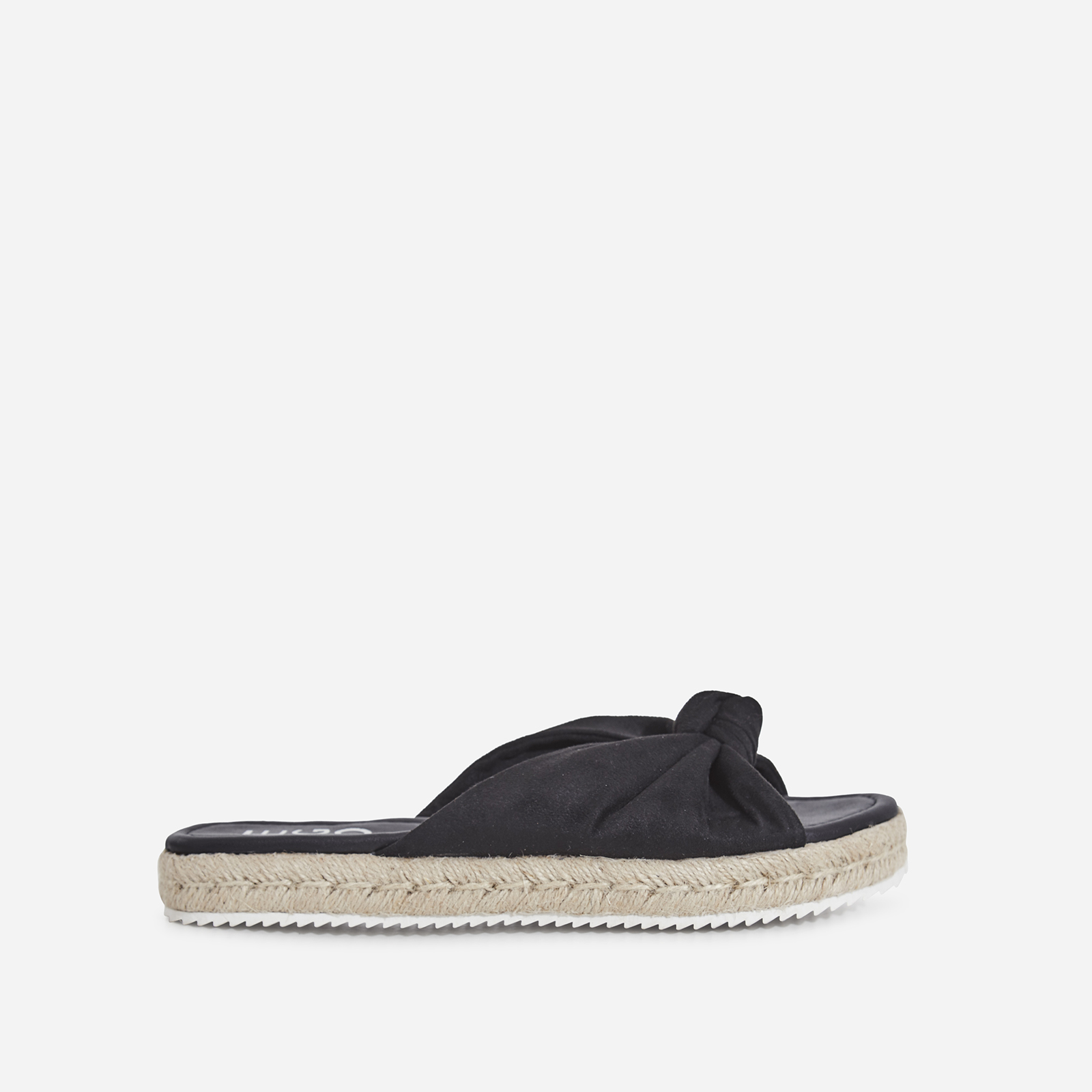 Birdy Bow Detail Espadrille Sandal In Black Faux Suede