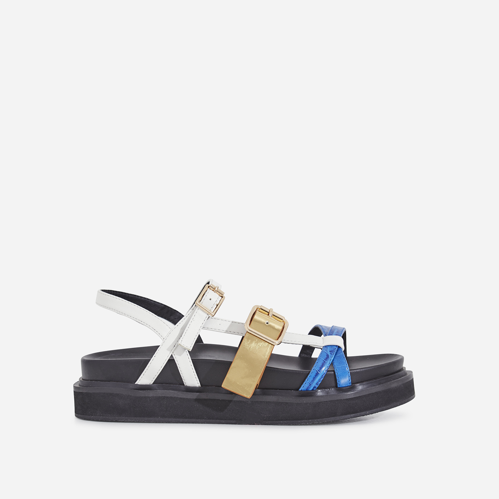 Andro Chunky Sole Sandal In Blue And White