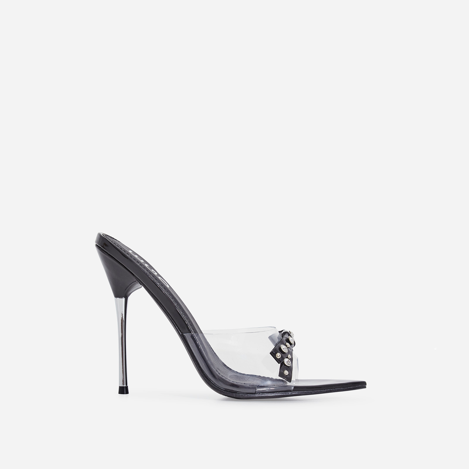 Gabb Studded Bow Detail Perspex Peep Toe Heel Mule In Black Patent