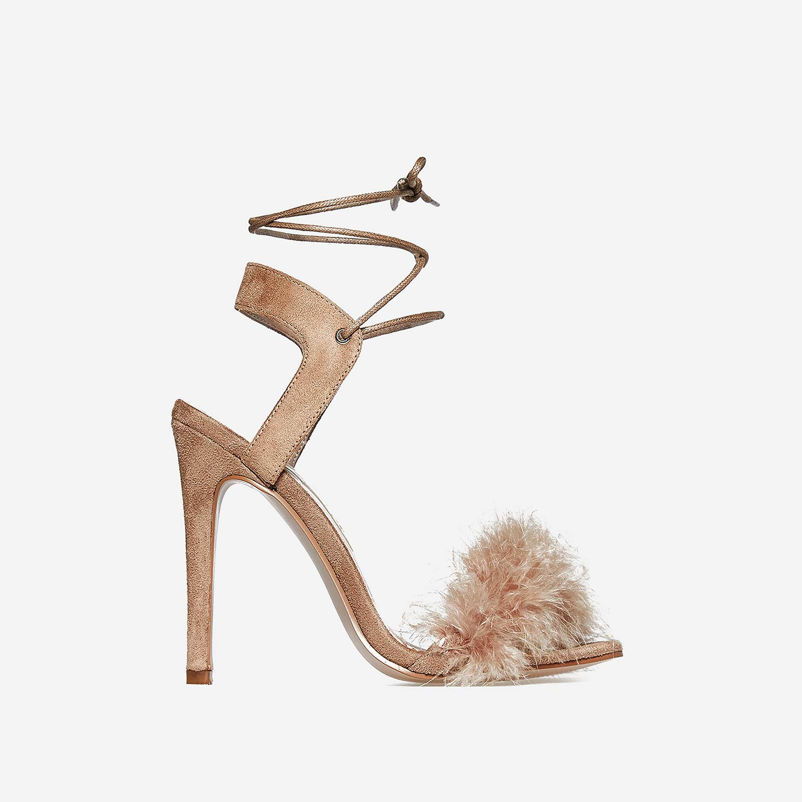 Savanna Lace Up Fluffy Heel In Nude Faux Suede