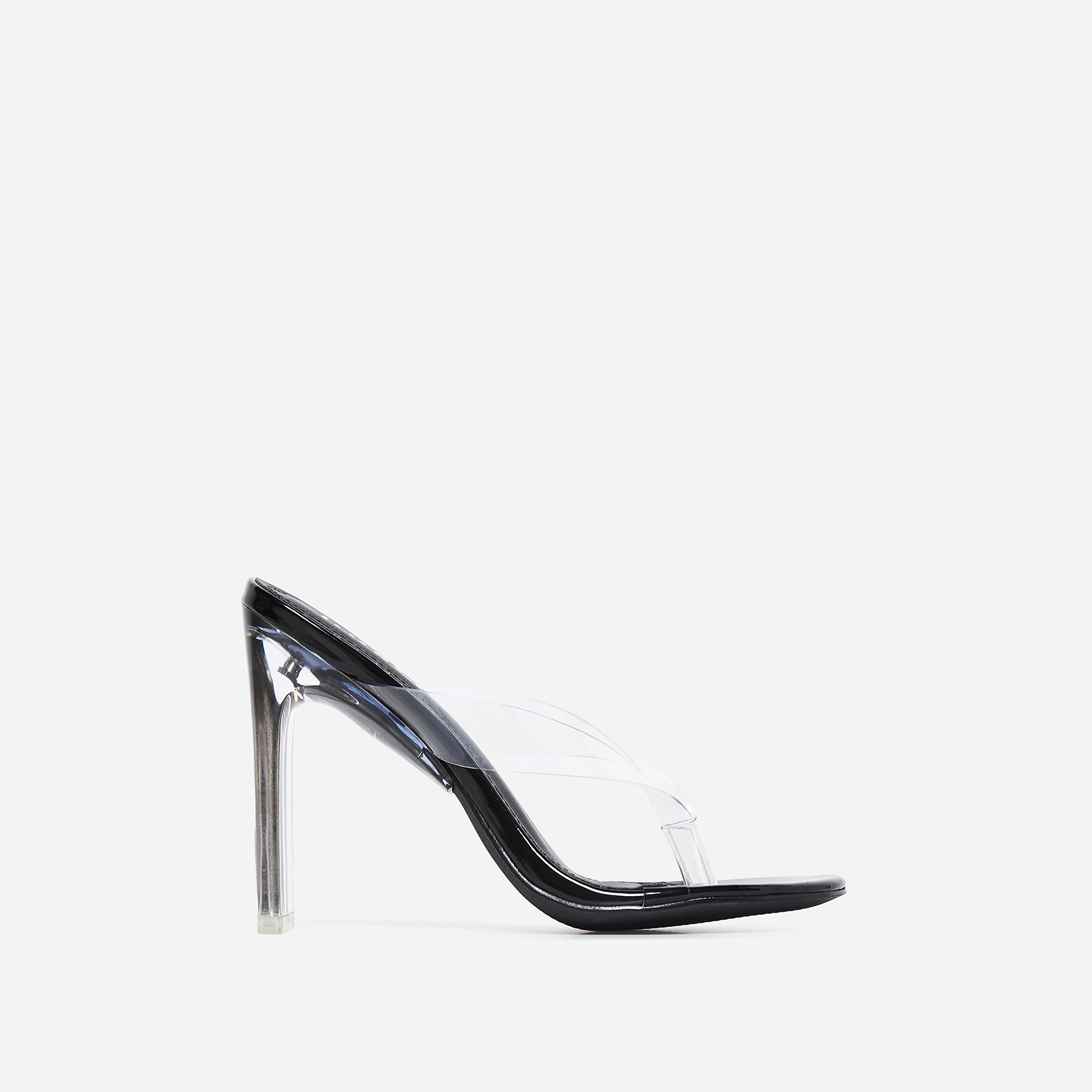 Scandal Flip Flop Flat Perspex Heel In Black Patent