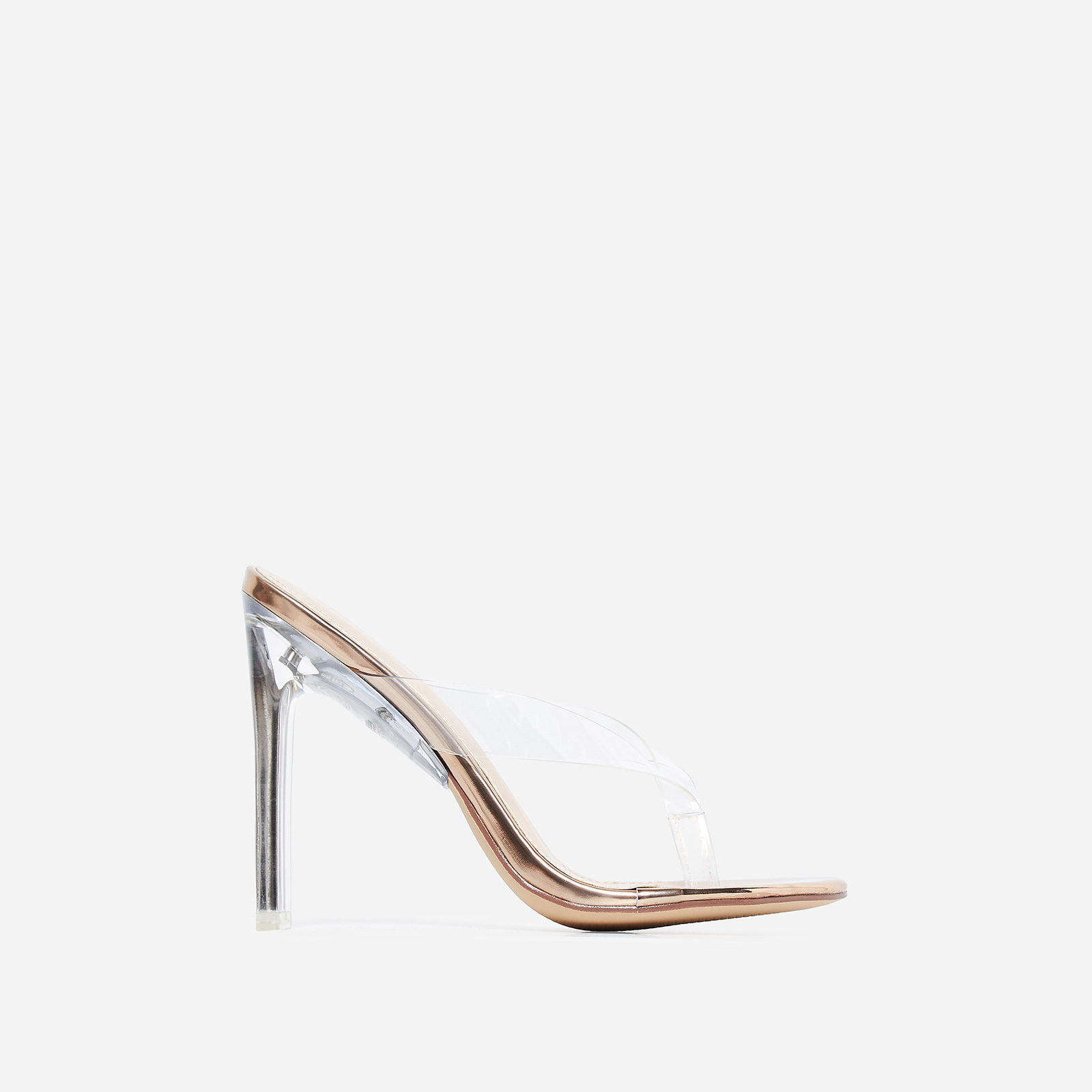 Scandal Flip Flop Flat Perspex Heel In Rose Gold Faux Leather