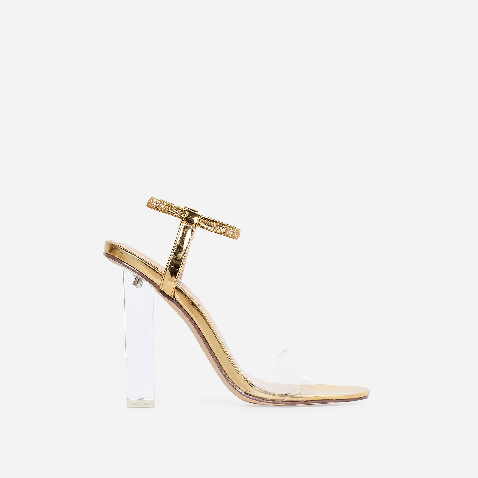 Scorpio Barely There Perspex Block Heel In Gold Patent