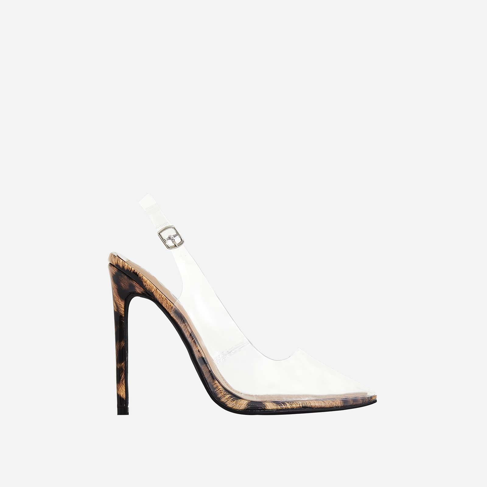 Seamless Perspex Heel In Tan Leopard Print Patent