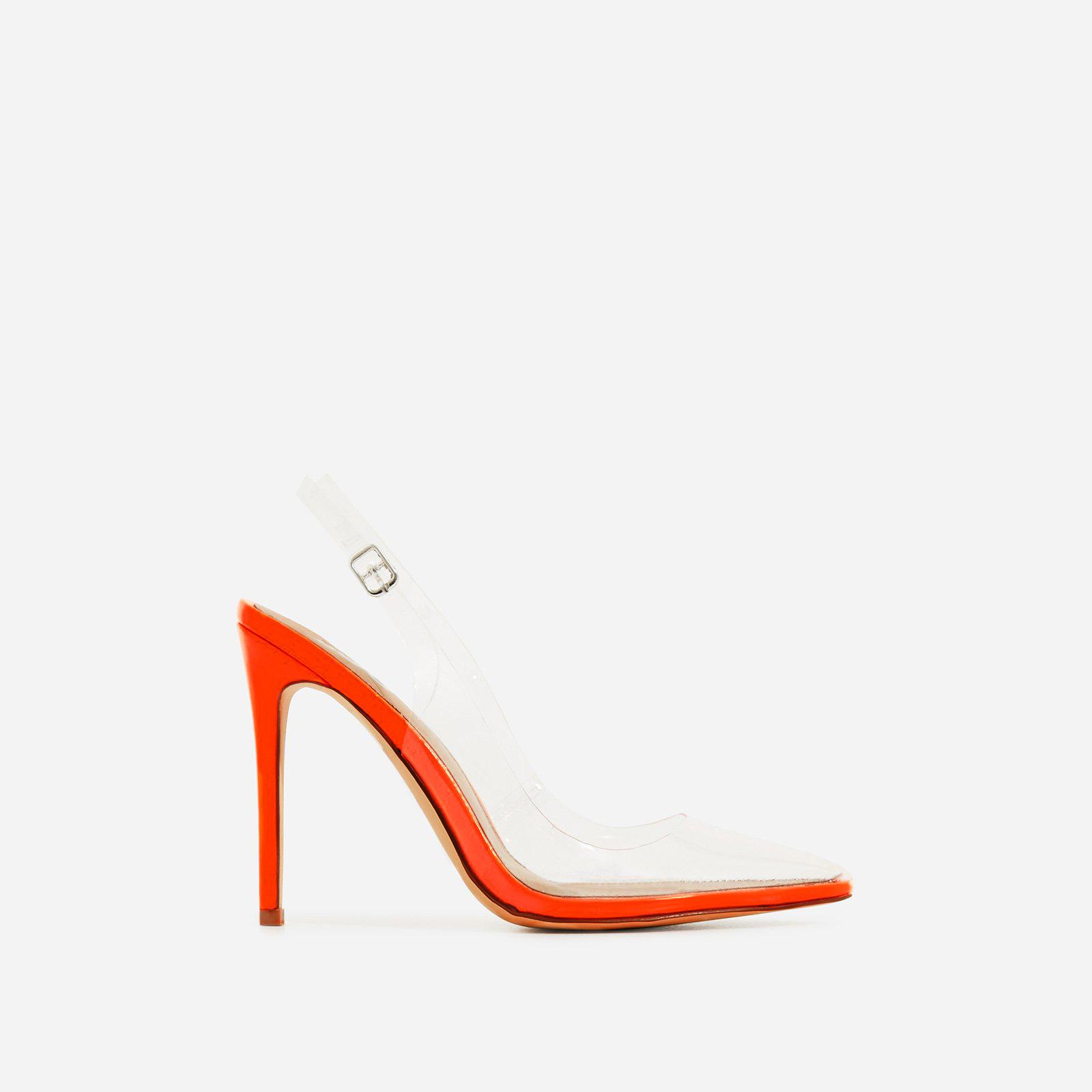 Seamless Perspex Heel In Neon Orange Patent