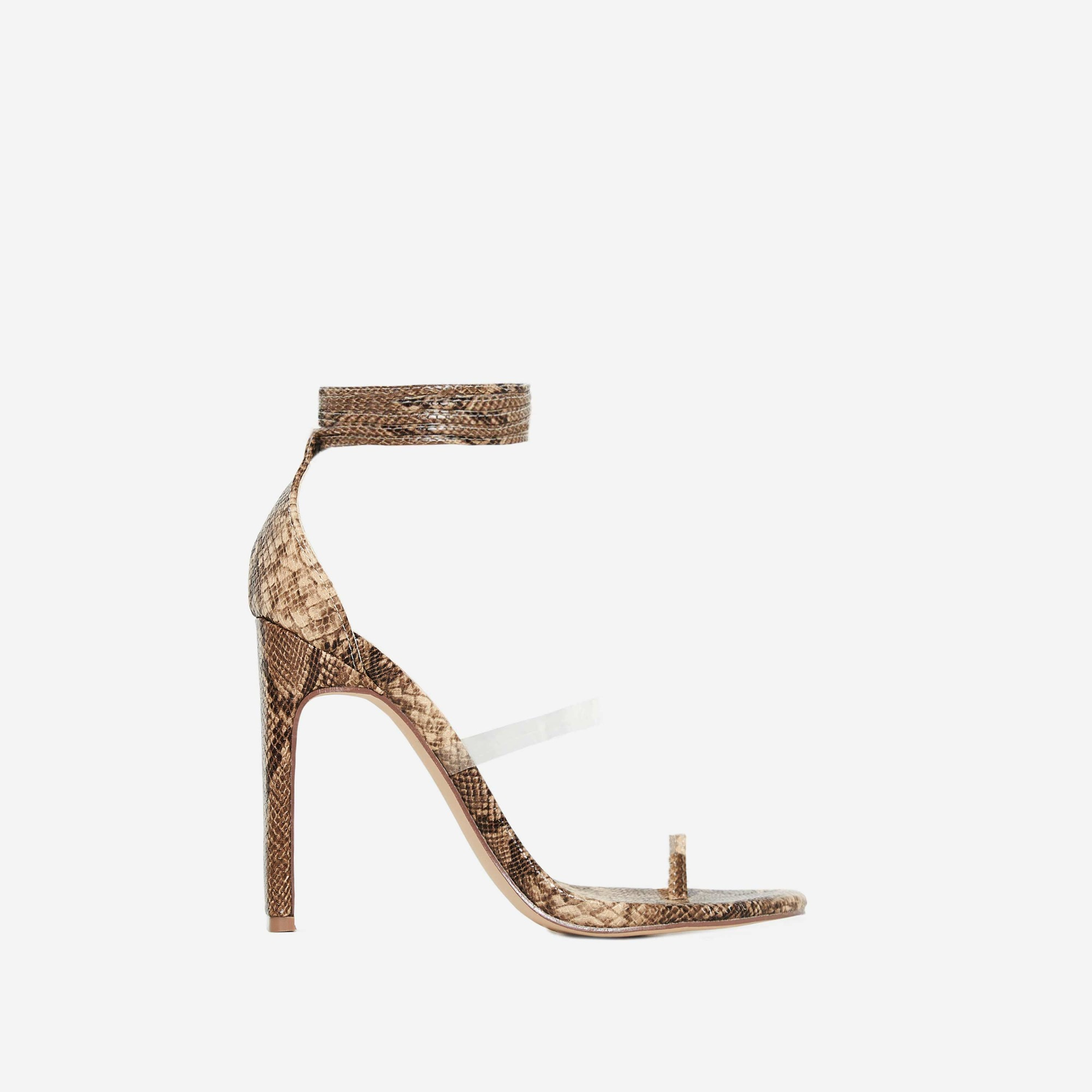 Sencha Perspex Lace Up Toe Strap Heel In Snake Print Faux Leather